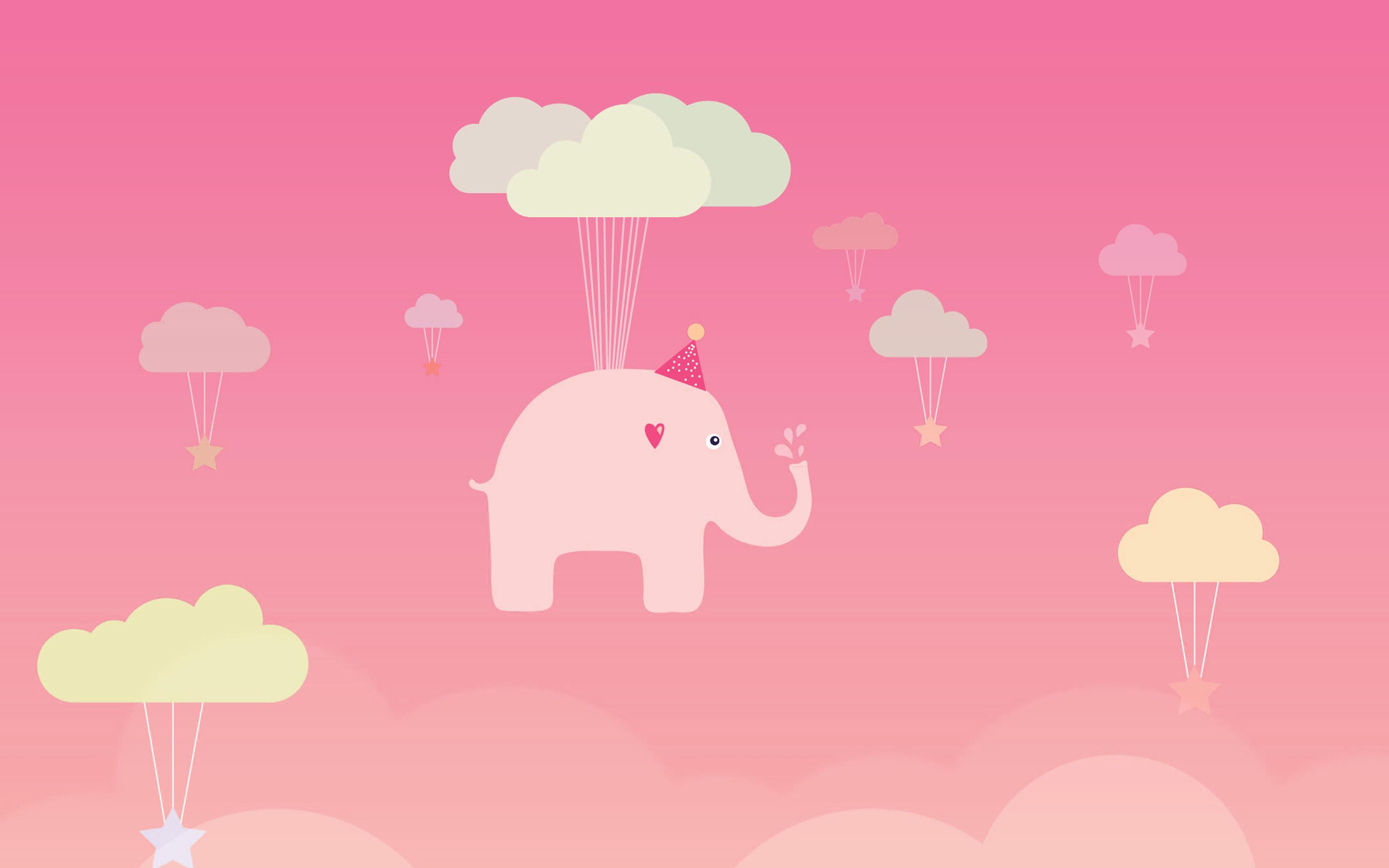 ap45-cute-elephant-illustration-art-orange-fly-wallpaper