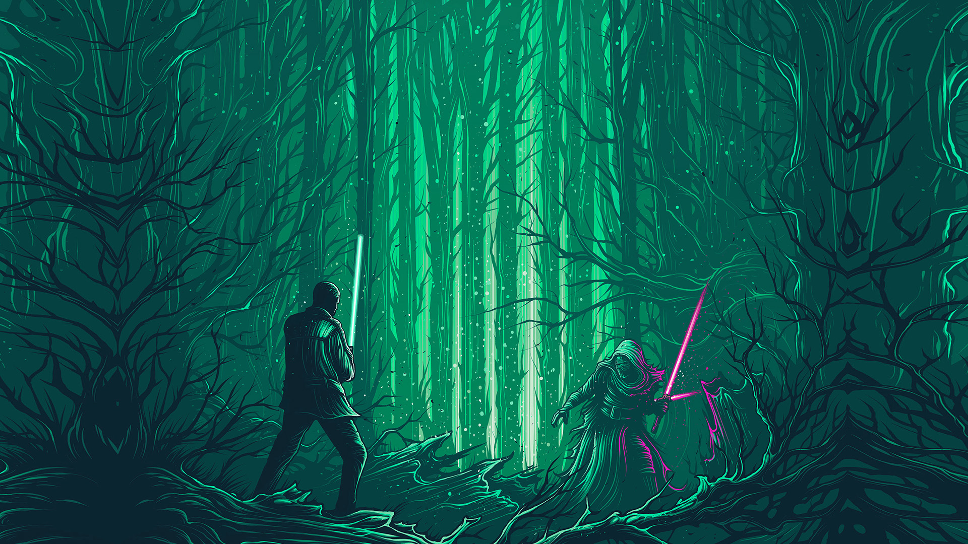 Ap47 Starwars Illustration Green Art Film Wallpaper