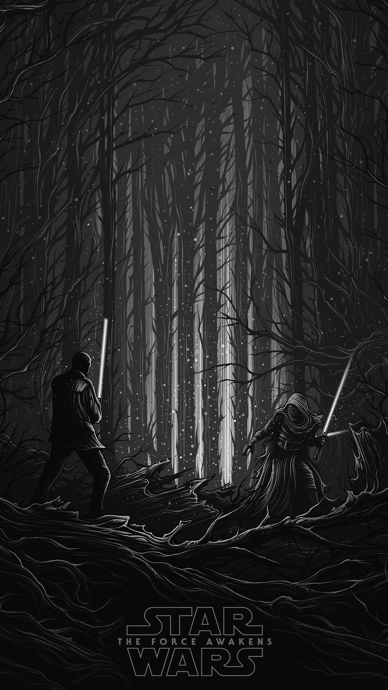 Ap48 Starwars Illustration Bw Dark Art Film Wallpaper