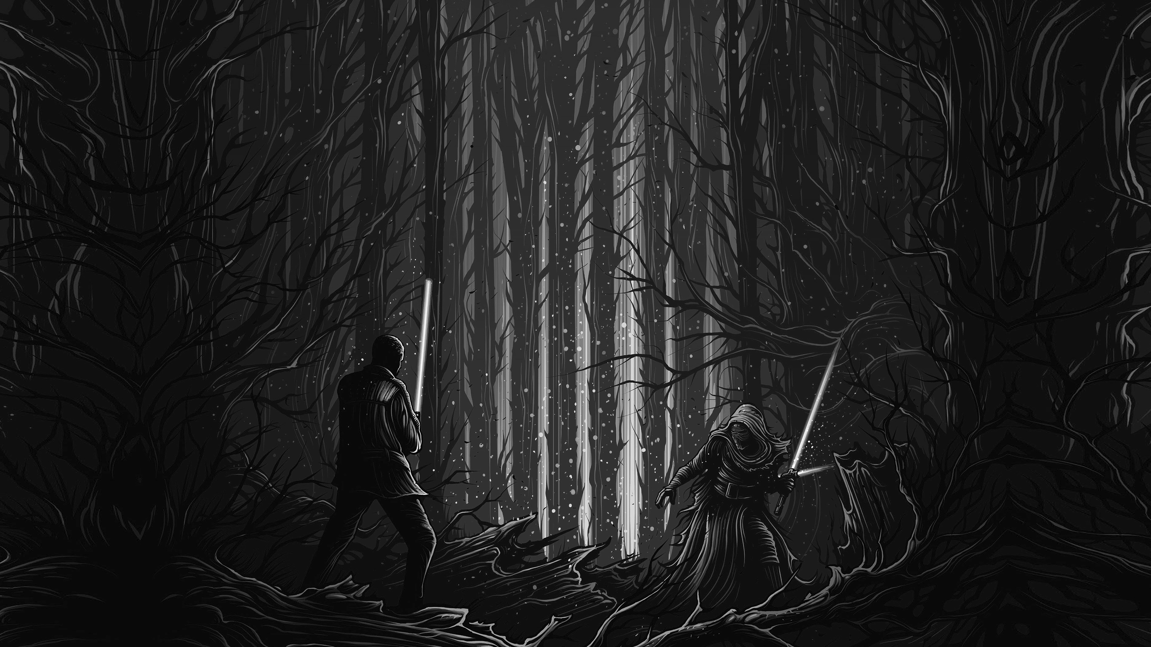 Ap48 Starwars Illustration Bw Dark Art Film