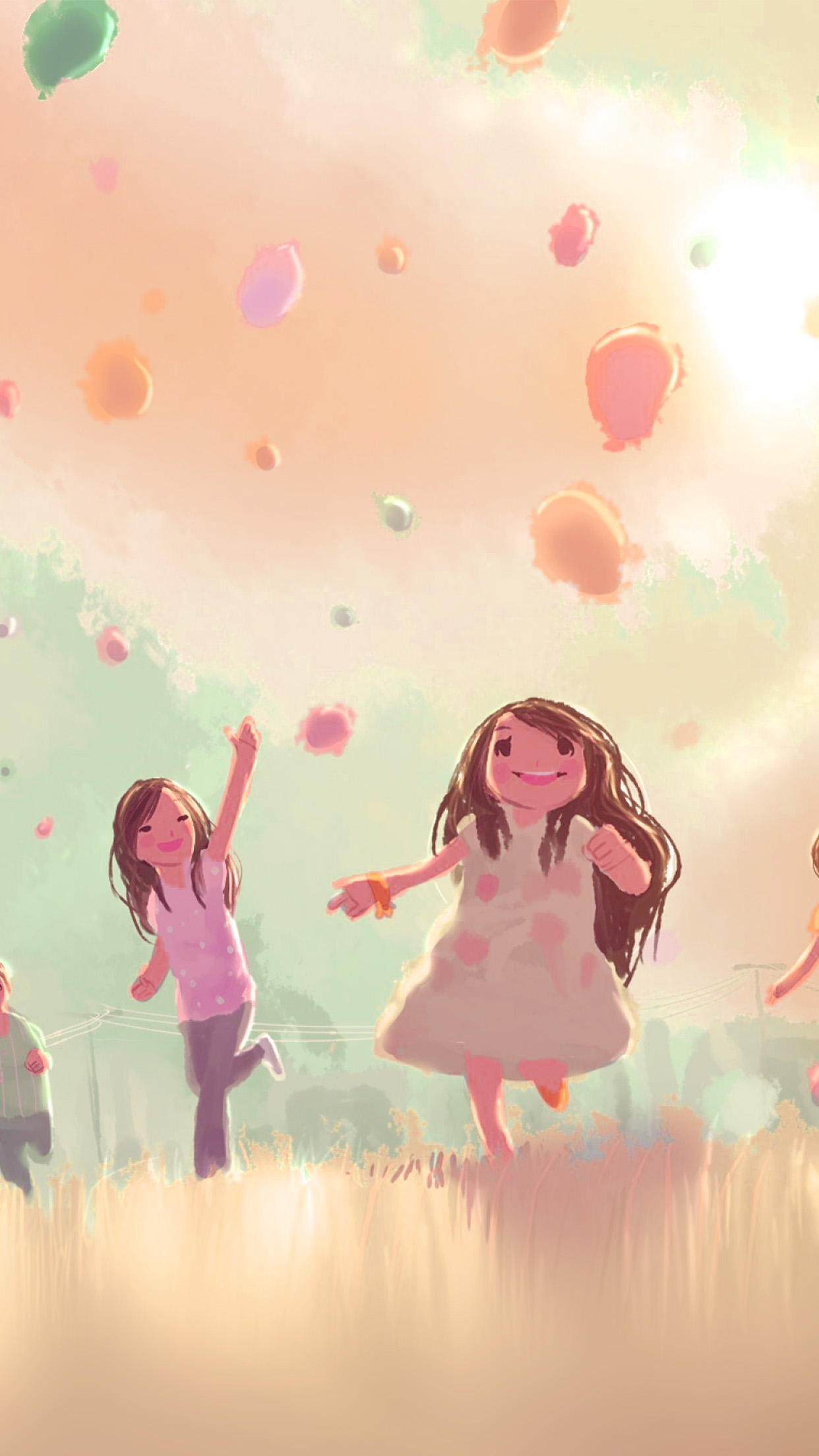 papers.co ap53 kids playing illustration art cute pink 34 iphone6 plus wallpaper