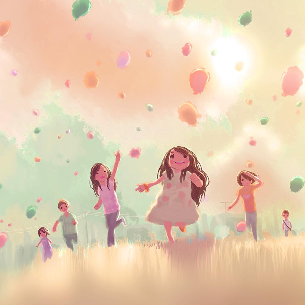 wallpaper-ap53-kids-playing-illustration-art-cute-pink-wallpaper
