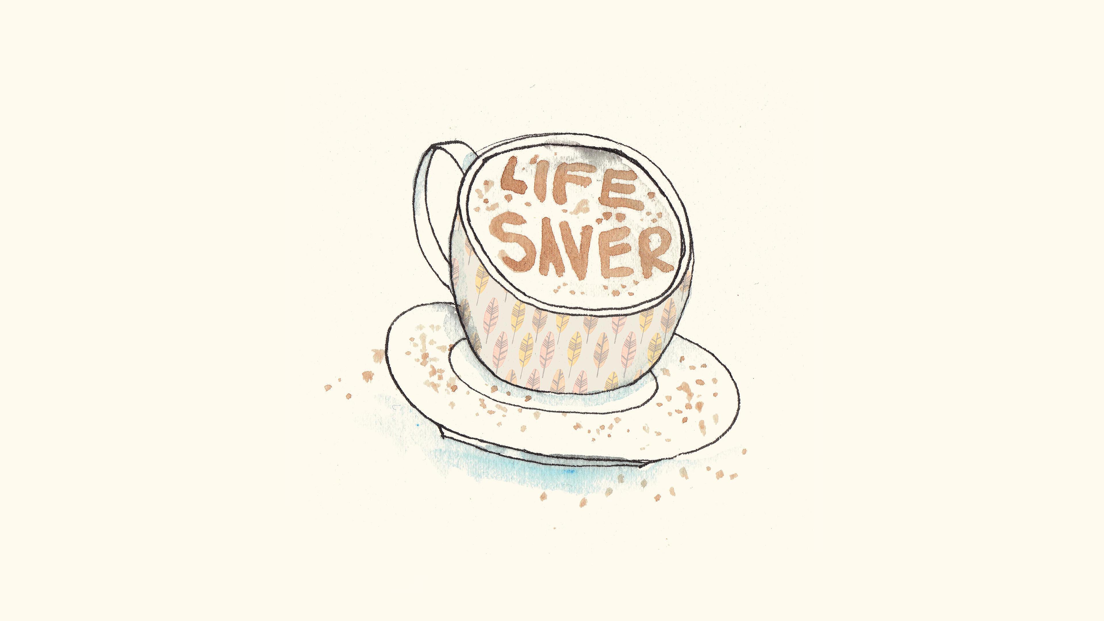 Ap56 Life Saver Coffee Illustration Cute Wallpaper