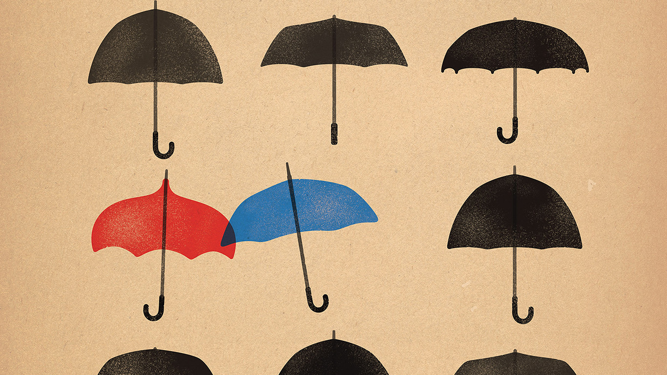 Papers Co Desktop Wallpaper Ap66 Blue Umbrella Cute Minimal Art