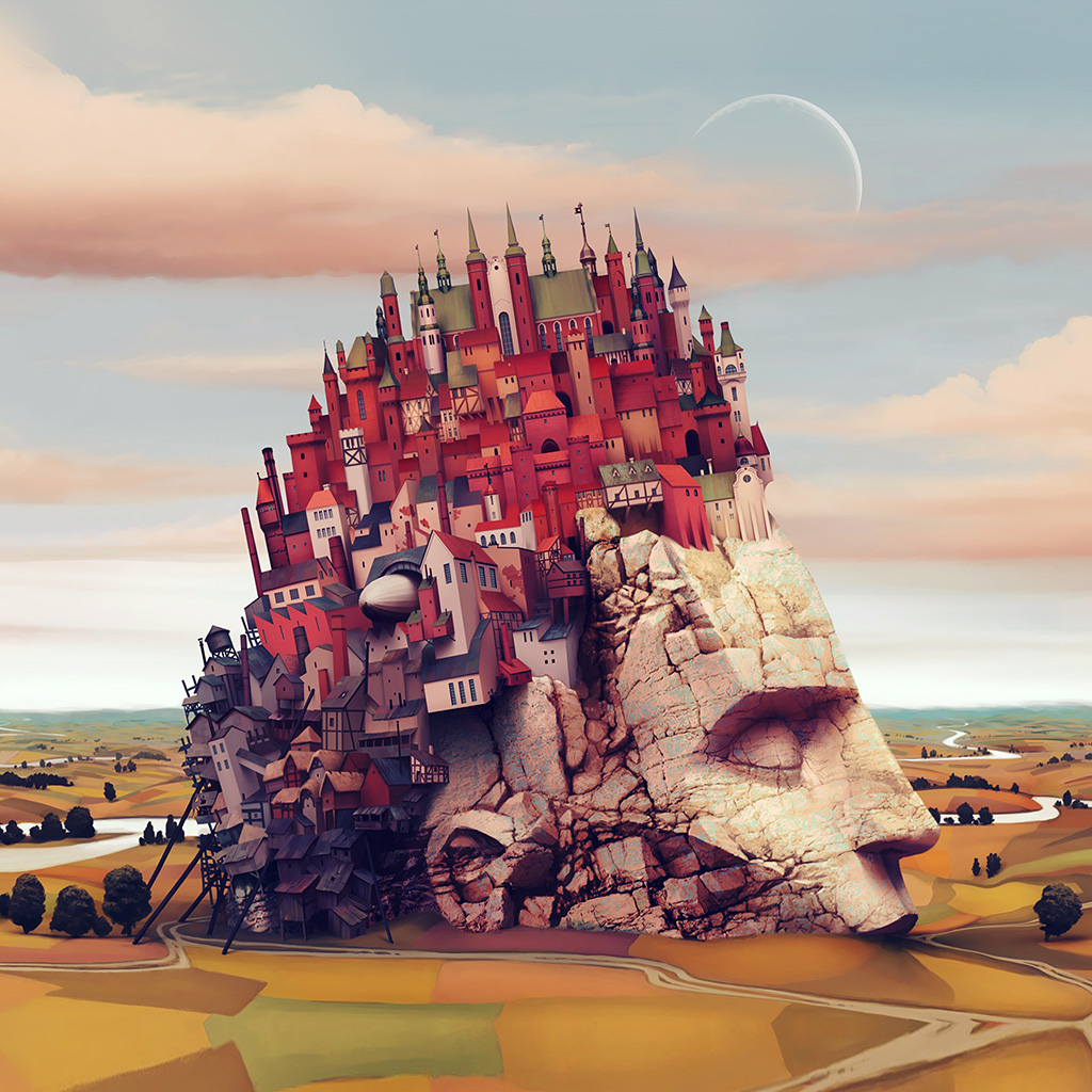 wallpaper-ap85-castle-art-illustraion-mountain-color-wallpaper