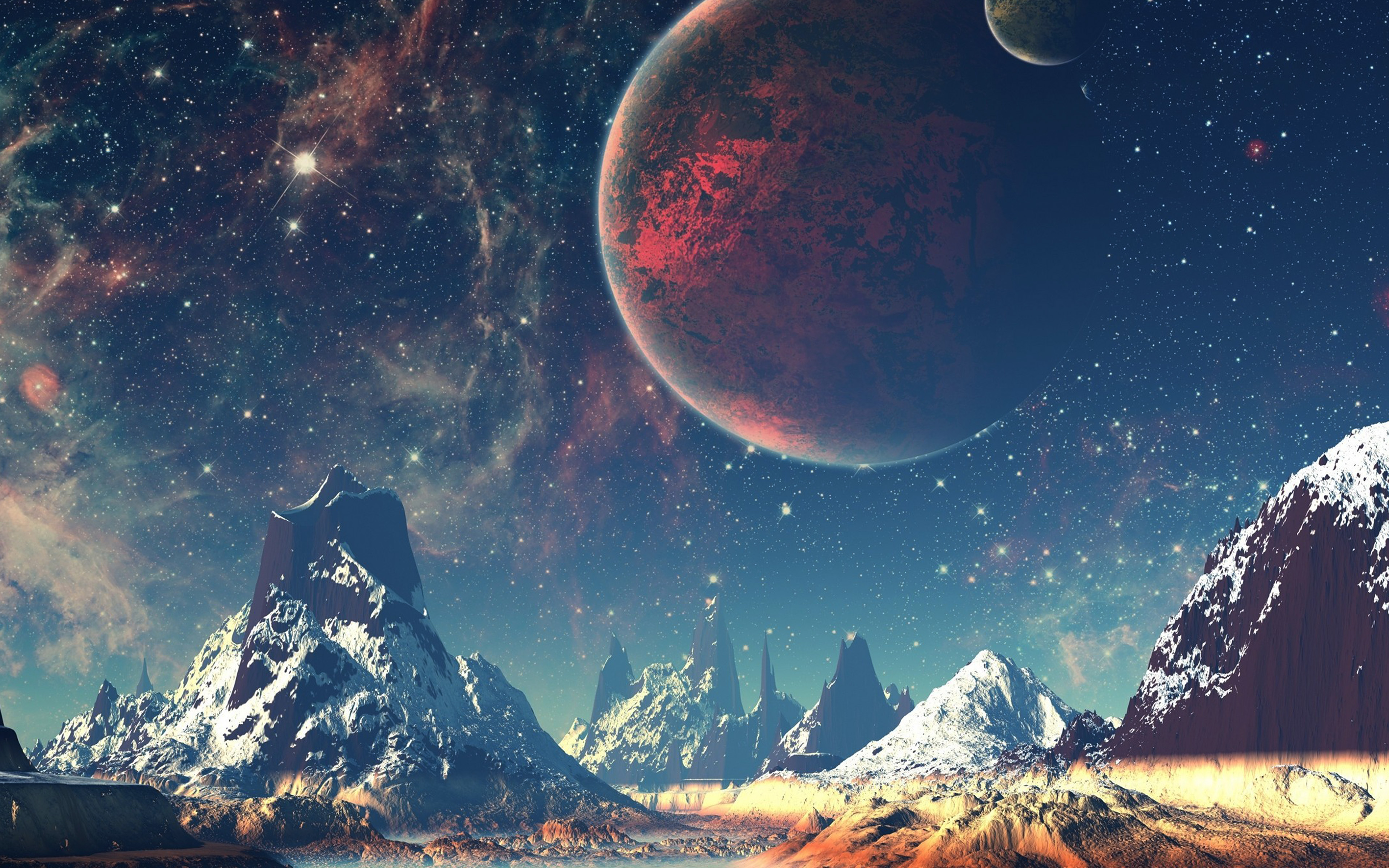 aq10-dream-space-world-mountain-sky-star-illustration ...