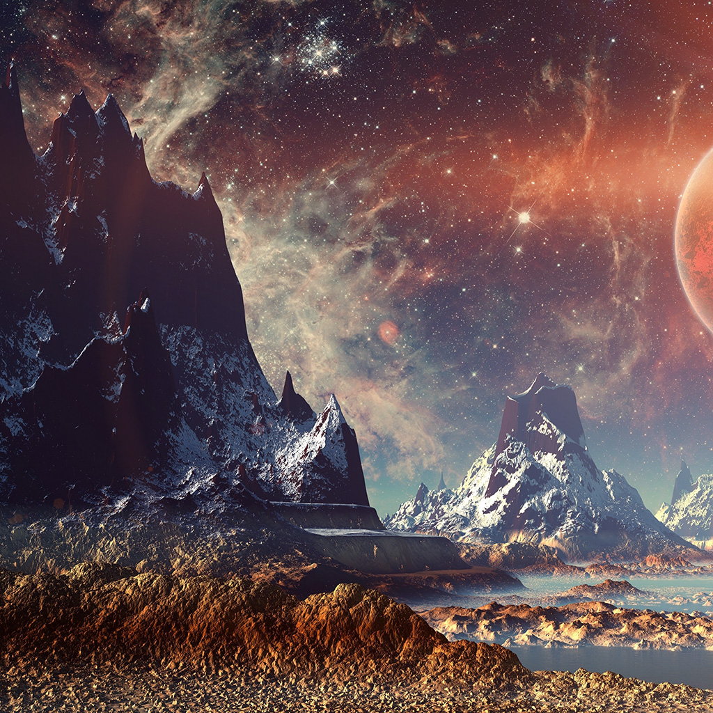 wallpaper-aq11-dream-space-world-mountain-sky-star-illustration-flare-wallpaper