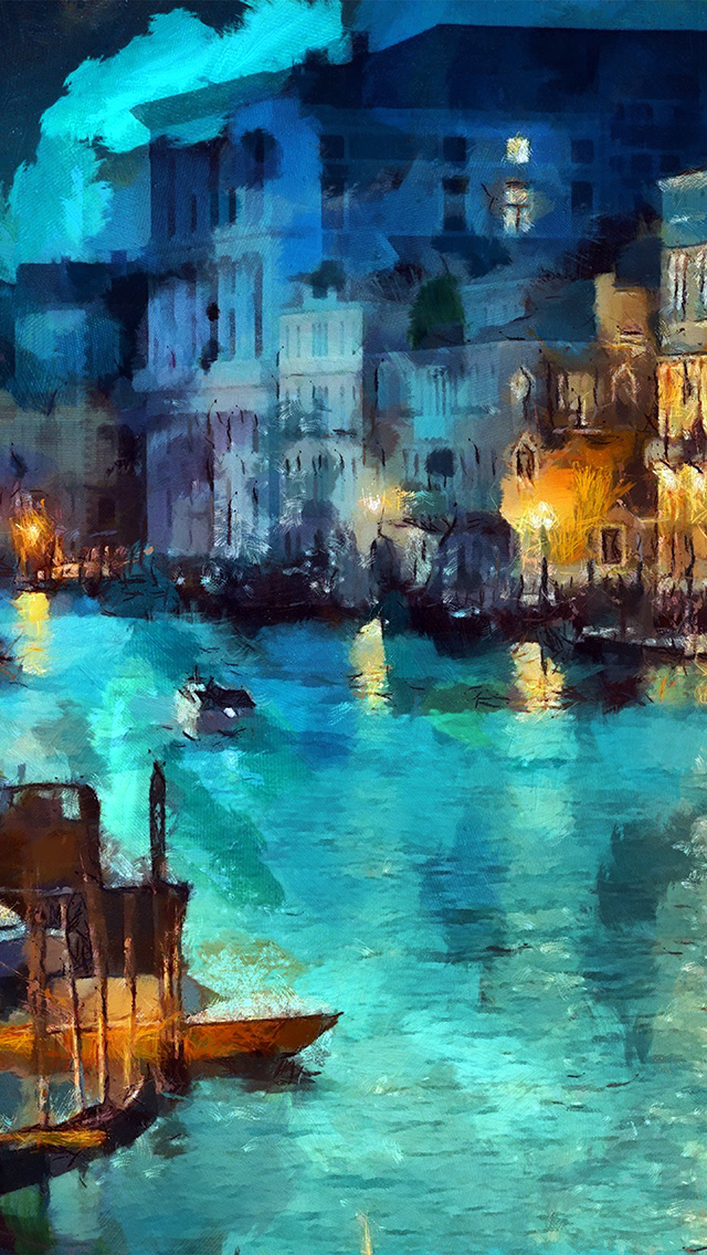 freeios8.com-iphone-4-5-6-plus-ipad-ios8-aq32-art-classic-painting-water-lake-night-blue
