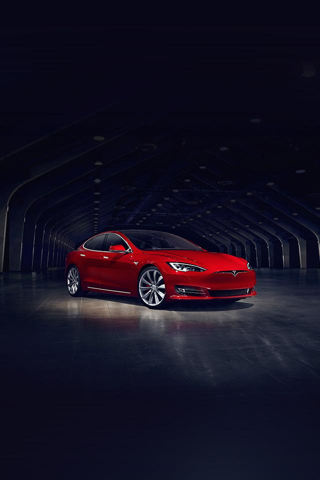 Freeios7 Com Iphone Wallpaper Aq53 Tesla Model Red Car