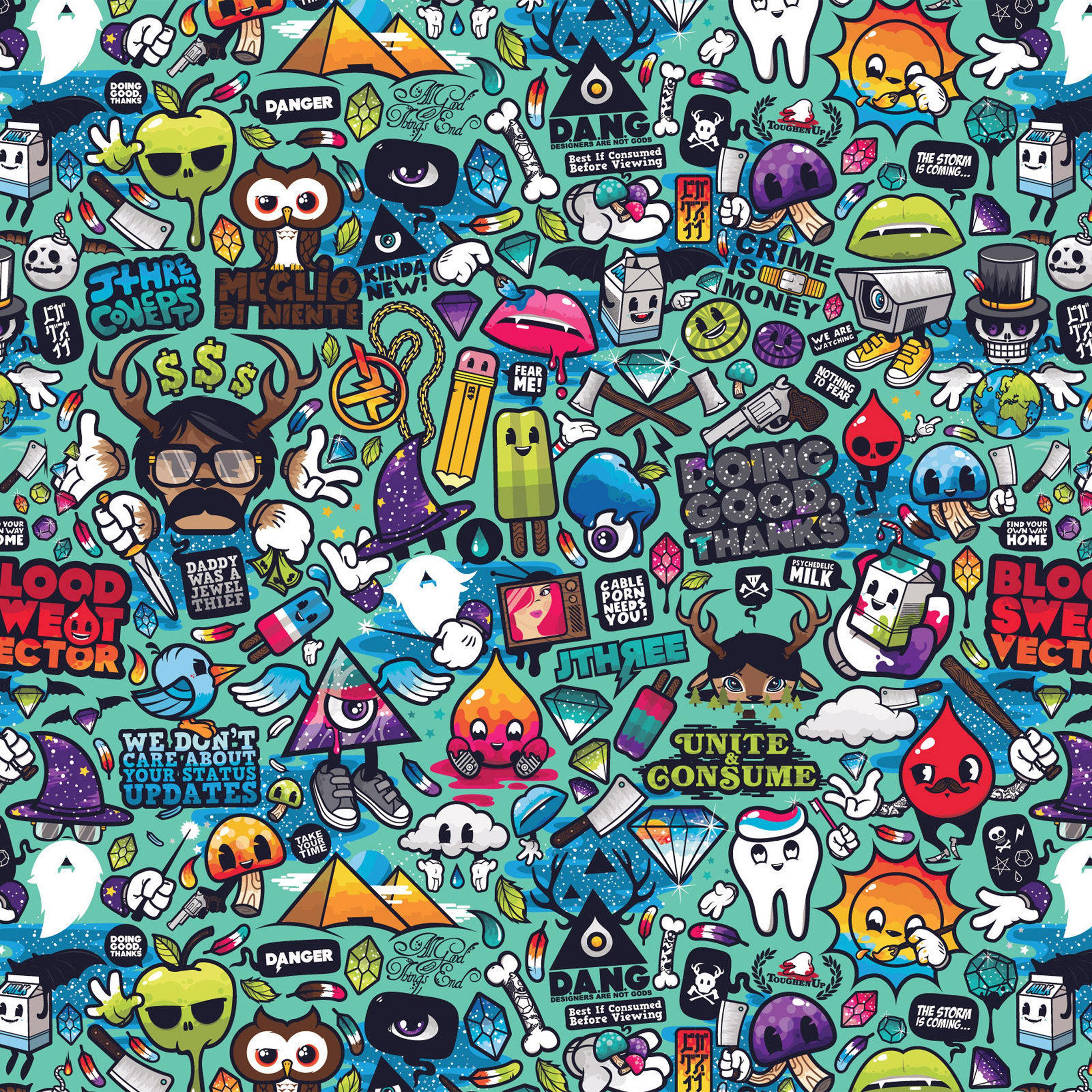 Aq61 Art Work Pattern Illustration Graffiti Wallpaper