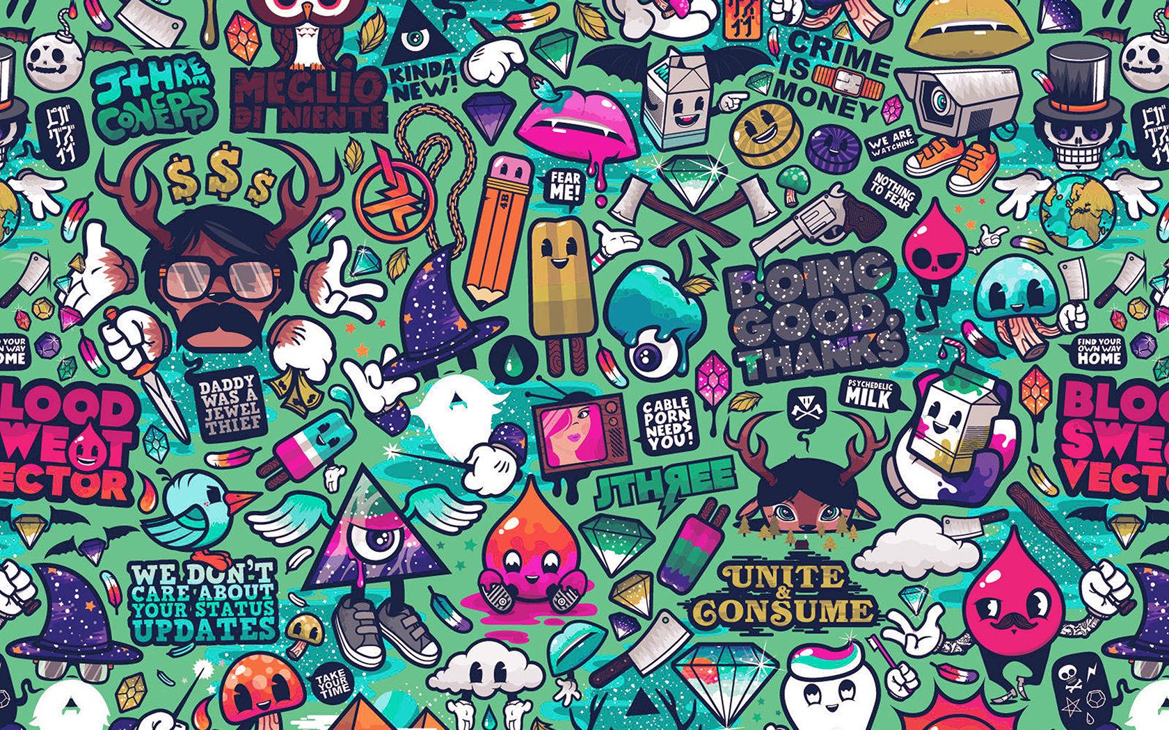 Aq62 Art Work Pattern Illustration Graffiti Green Wallpaper