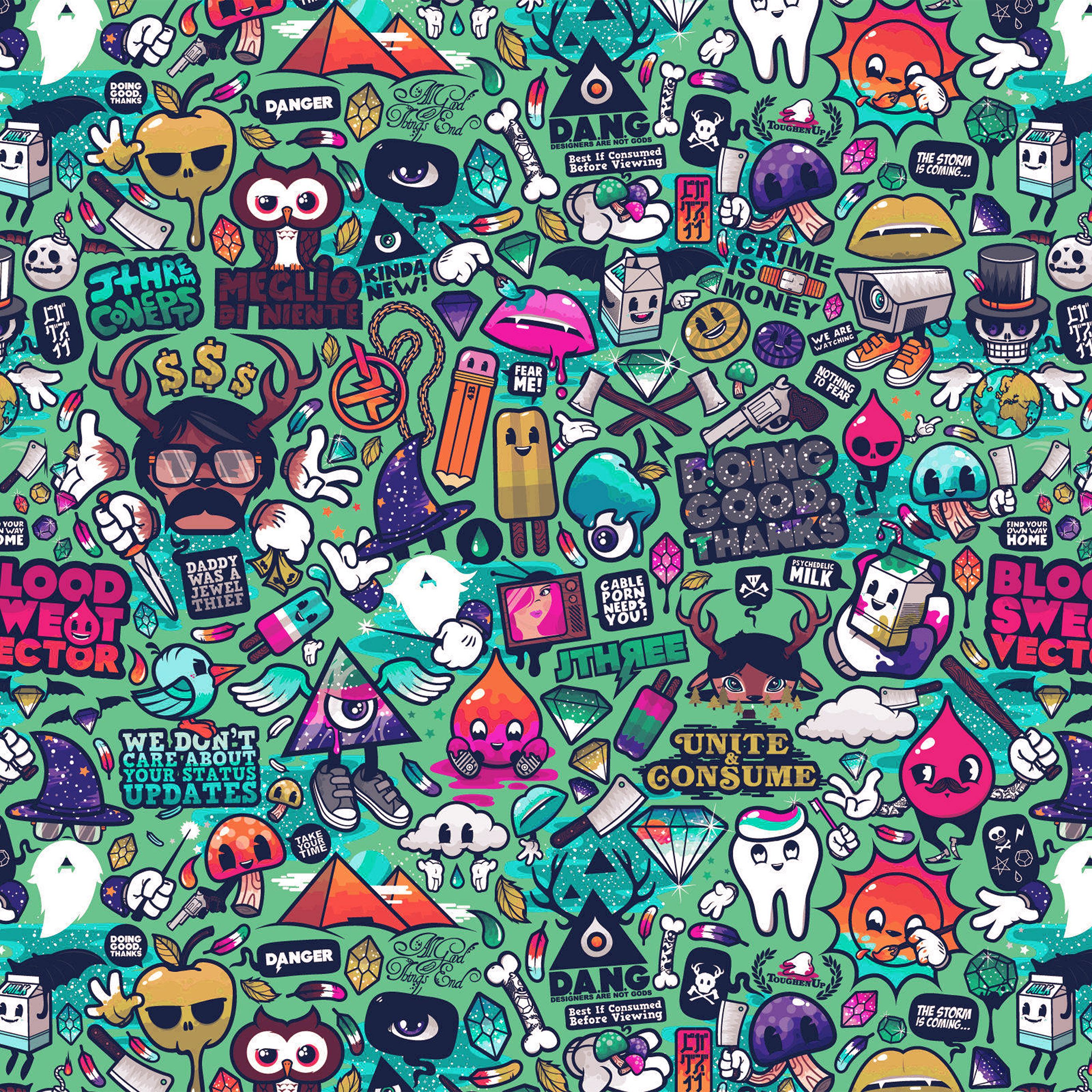 Aq62 Art Work Pattern Illustration Graffiti Green Wallpaper