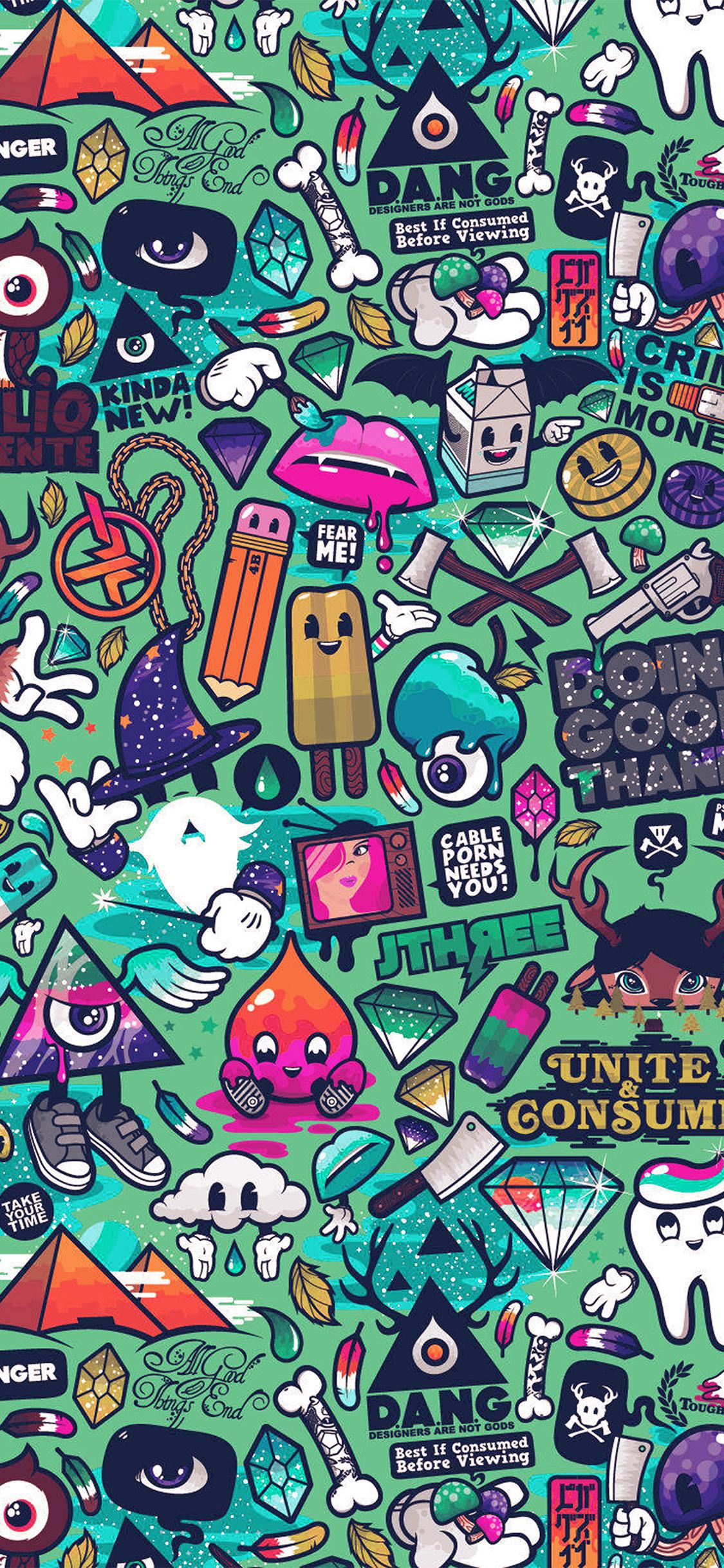 iPhoneXpapers.com-Apple-iPhone-wallpaper-aq62-art-work-pattern-illustration-graffiti-green