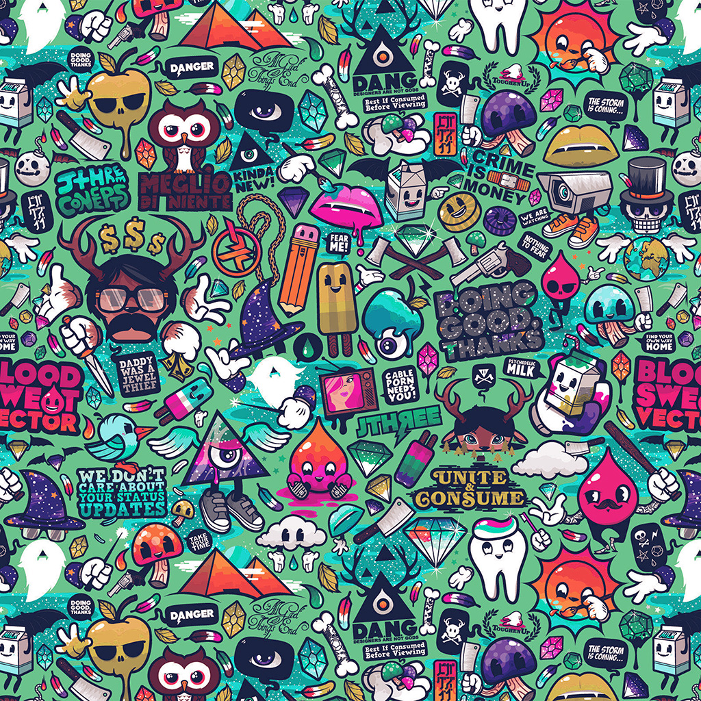 wallpaper-aq62-art-work-pattern-illustration-graffiti-green-wallpaper