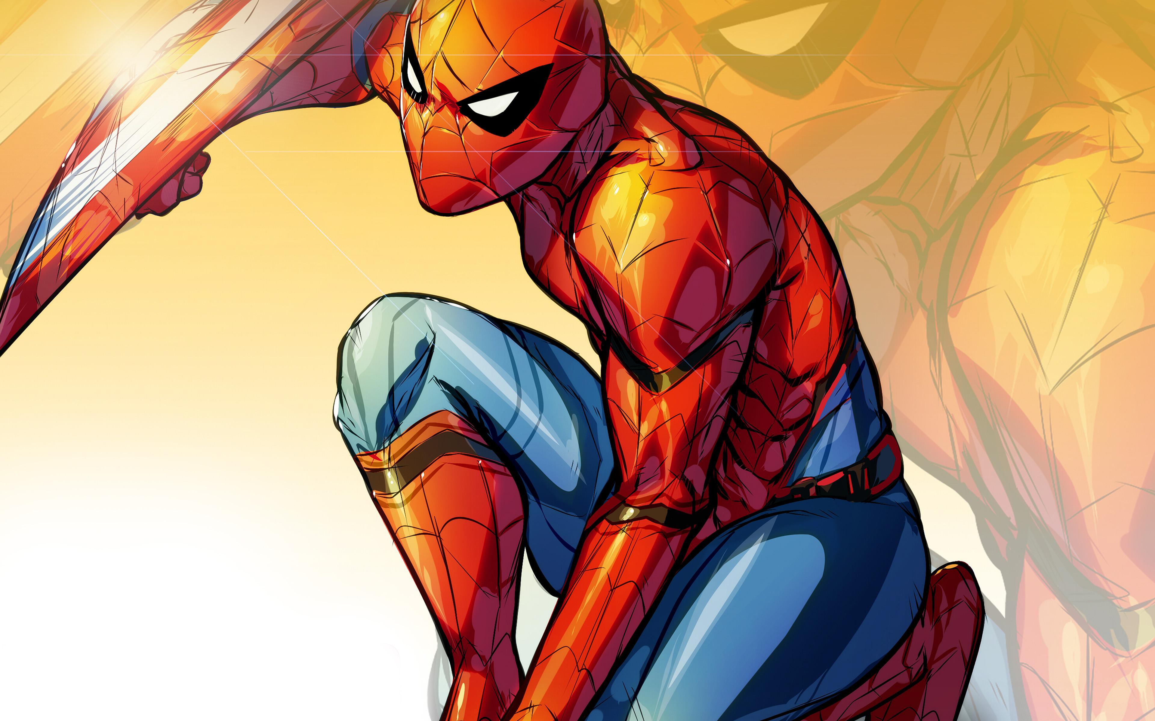 papers.co | desktop wallpaper | aq72-spiderman-captain-america