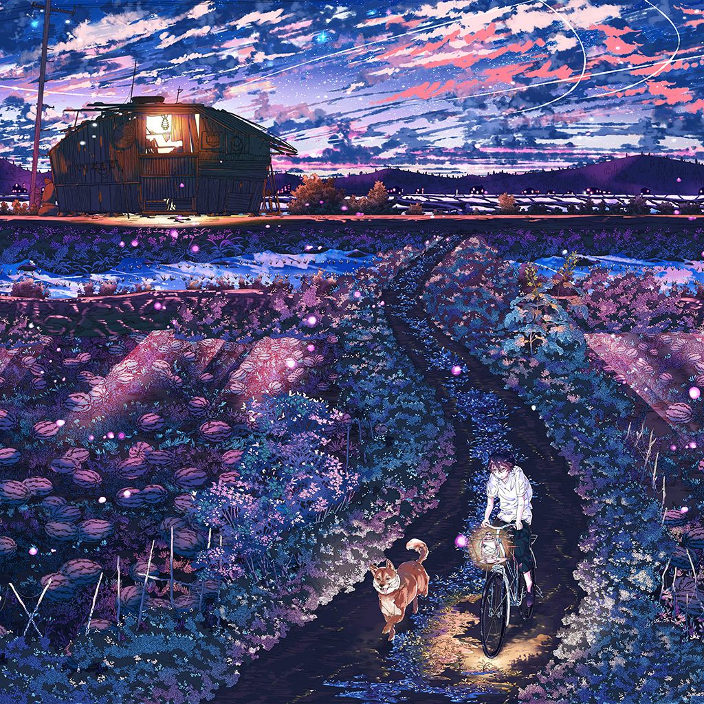 android-wallpaper-aq85-anime-night-art-sunset-lovely-illustration-wallpaper