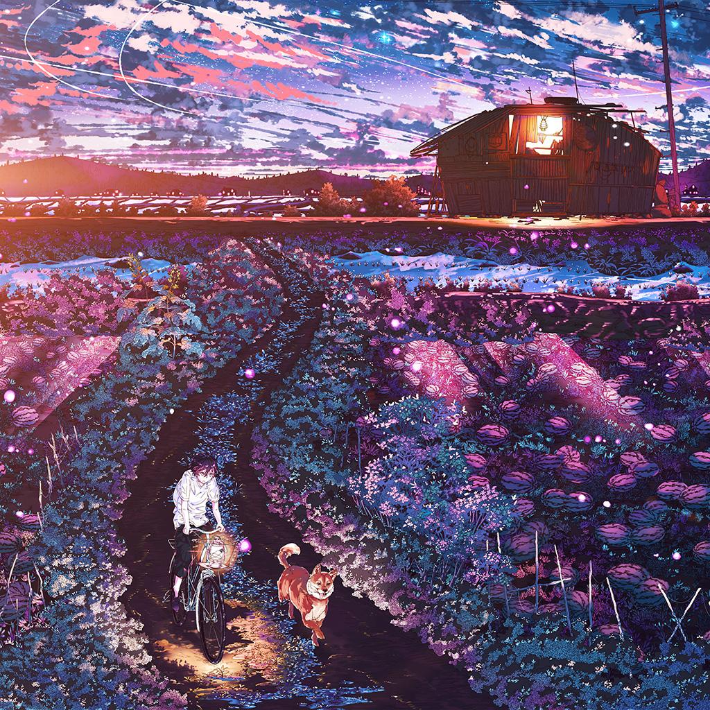 wallpaper-aq86-anime-night-art-sunset-lovely-illustration-flare-wallpaper