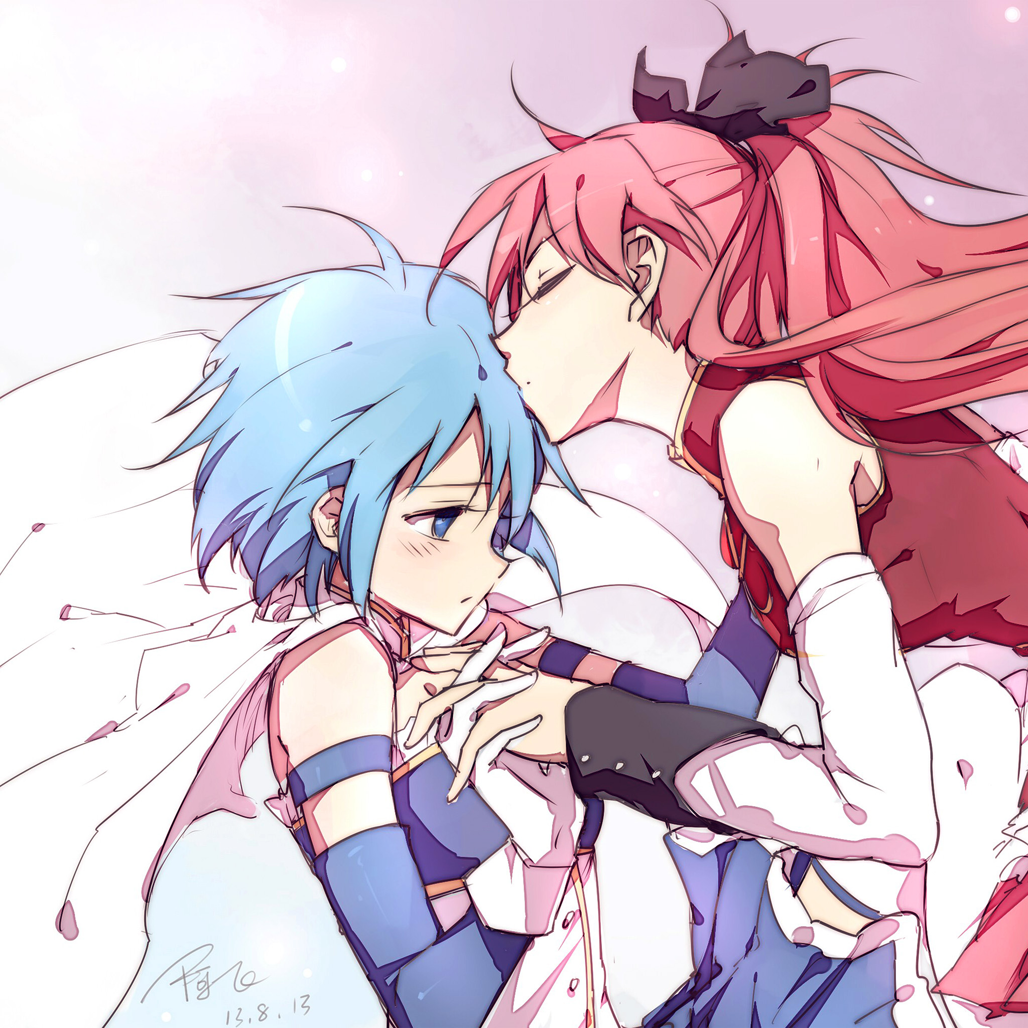 Androidpapers Co Android Wallpaper Ar27 Anime Girl Kiss Cute Art