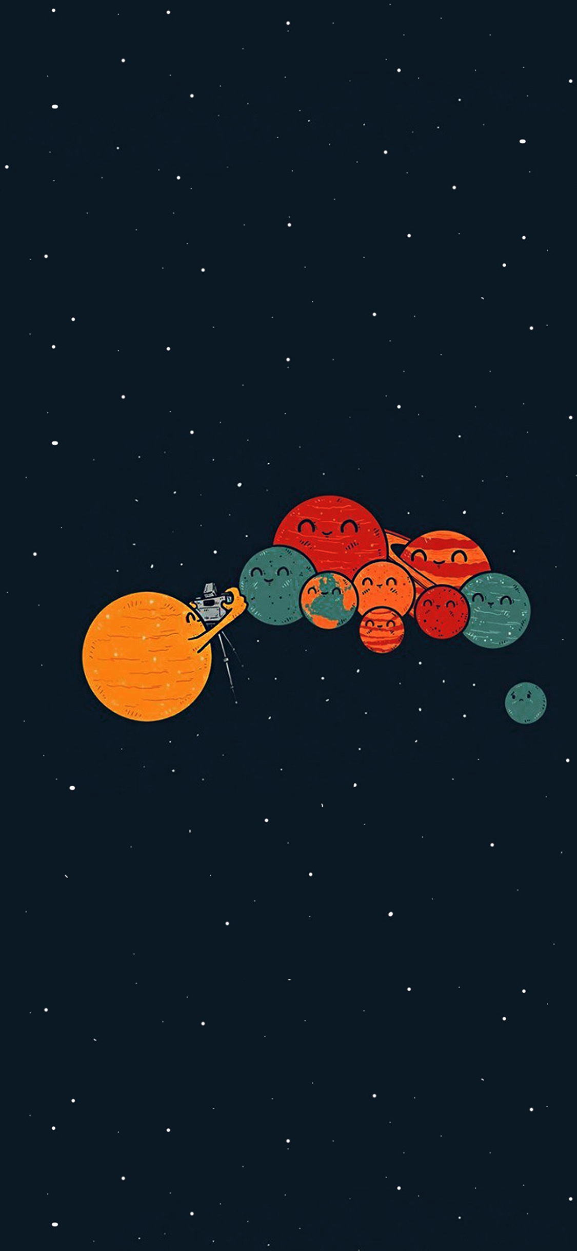 Ar49 Planets Cute Illustration Space Art Blue Red Wallpaper