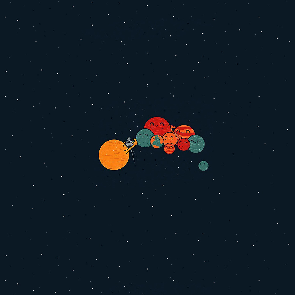 android-wallpaper-ar49-planets-cute-illustration-space-art-blue-red-wallpaper
