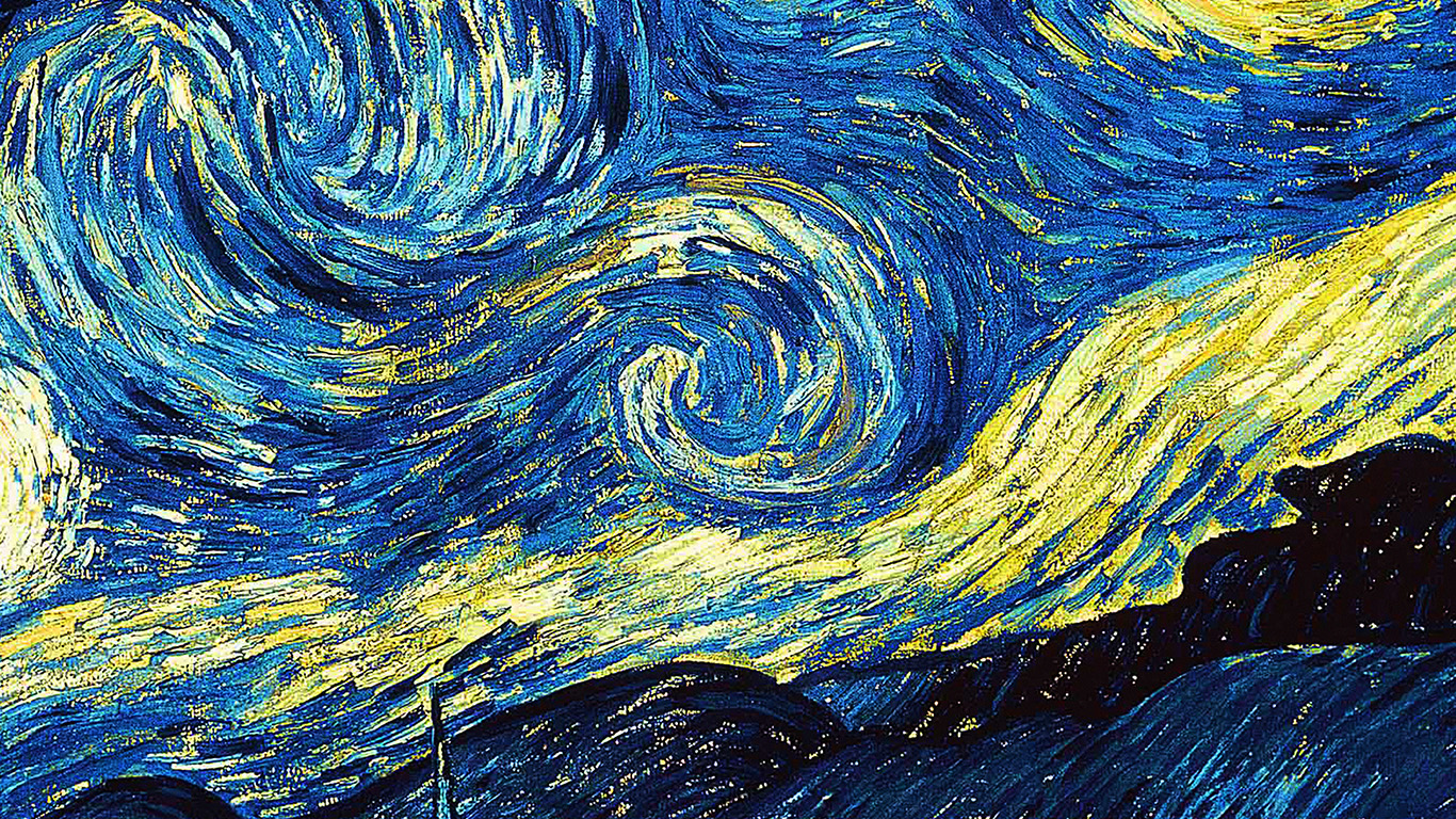 Ar55 Vicent Van Gogh Starry Night Art Classic Wallpaper