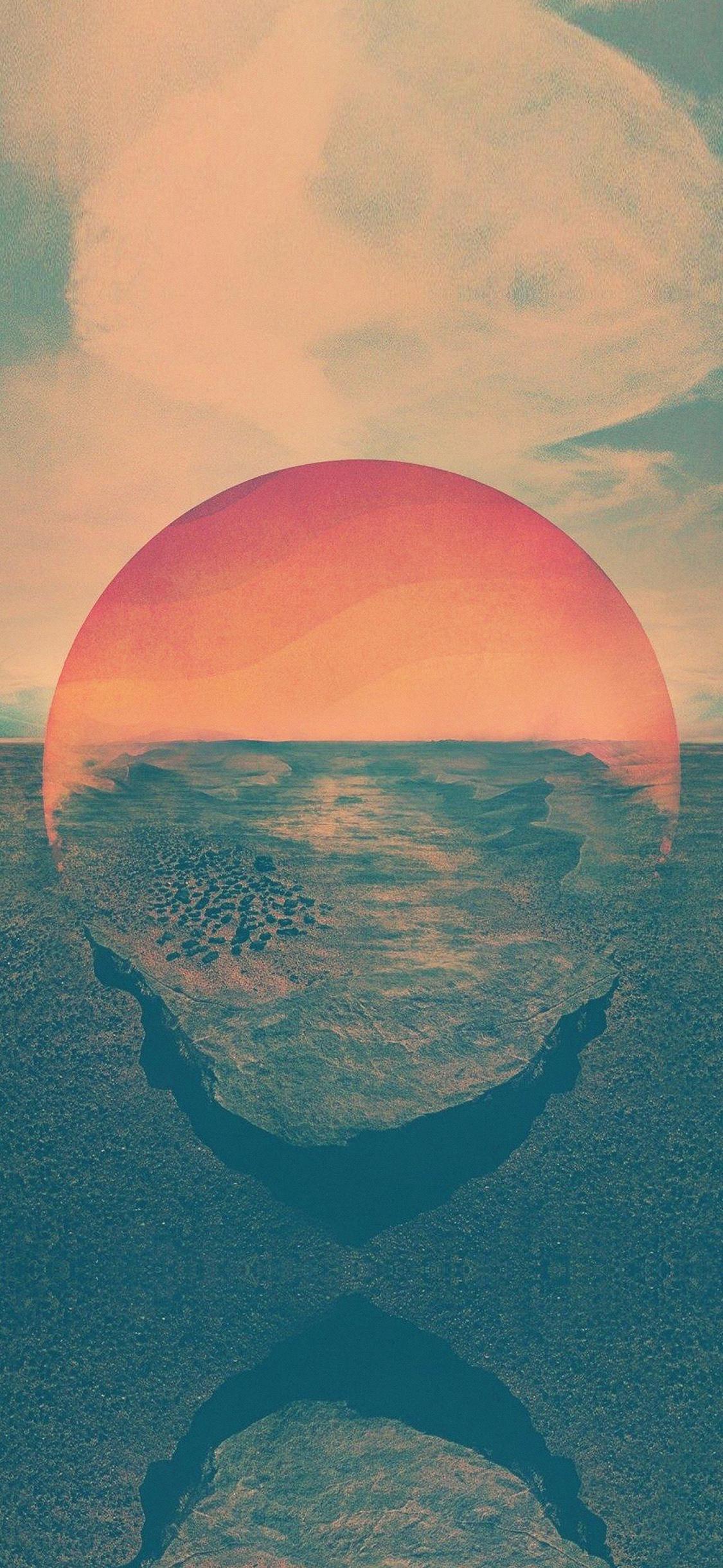 iPhoneXpapers.com-Apple-iPhone-wallpaper-ar57-tycho-art-sunset-green-red-art-retro