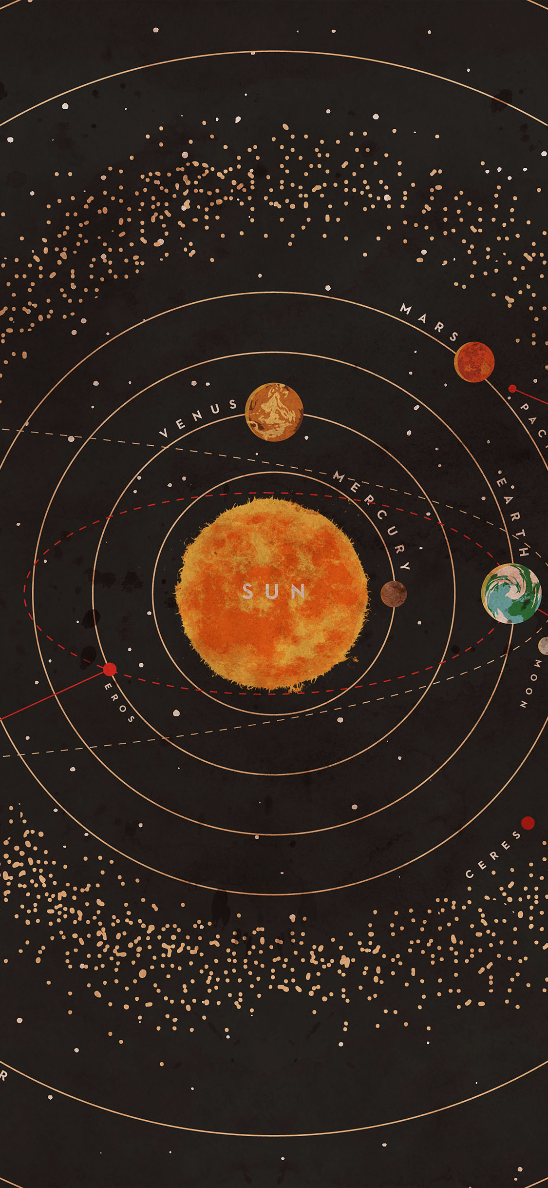Ar62 Solar System Space Art Cover Red Wallpaper