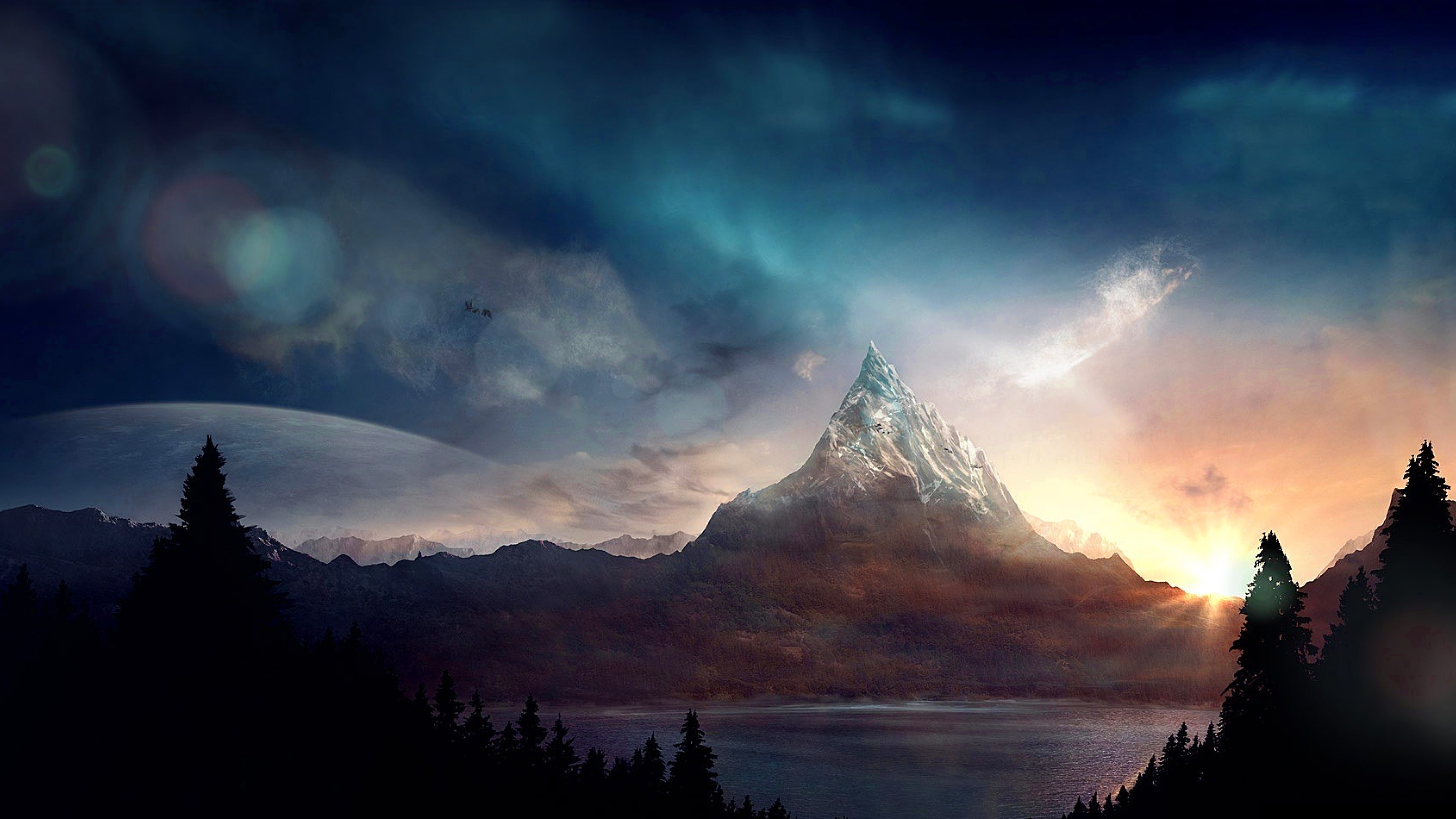 Ar91 Mountain Nature Fantasy Art Illustration Wallpaper