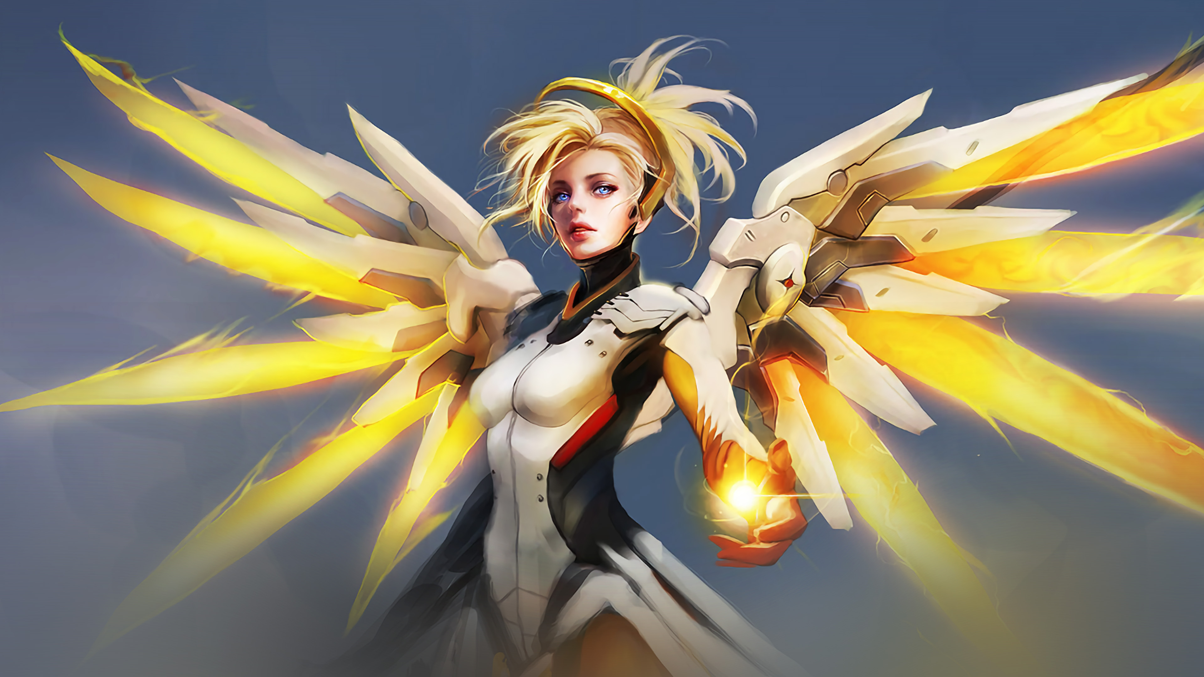As01 Overwatch Mercy Cute Game Art Illustration Angel Wallpaper