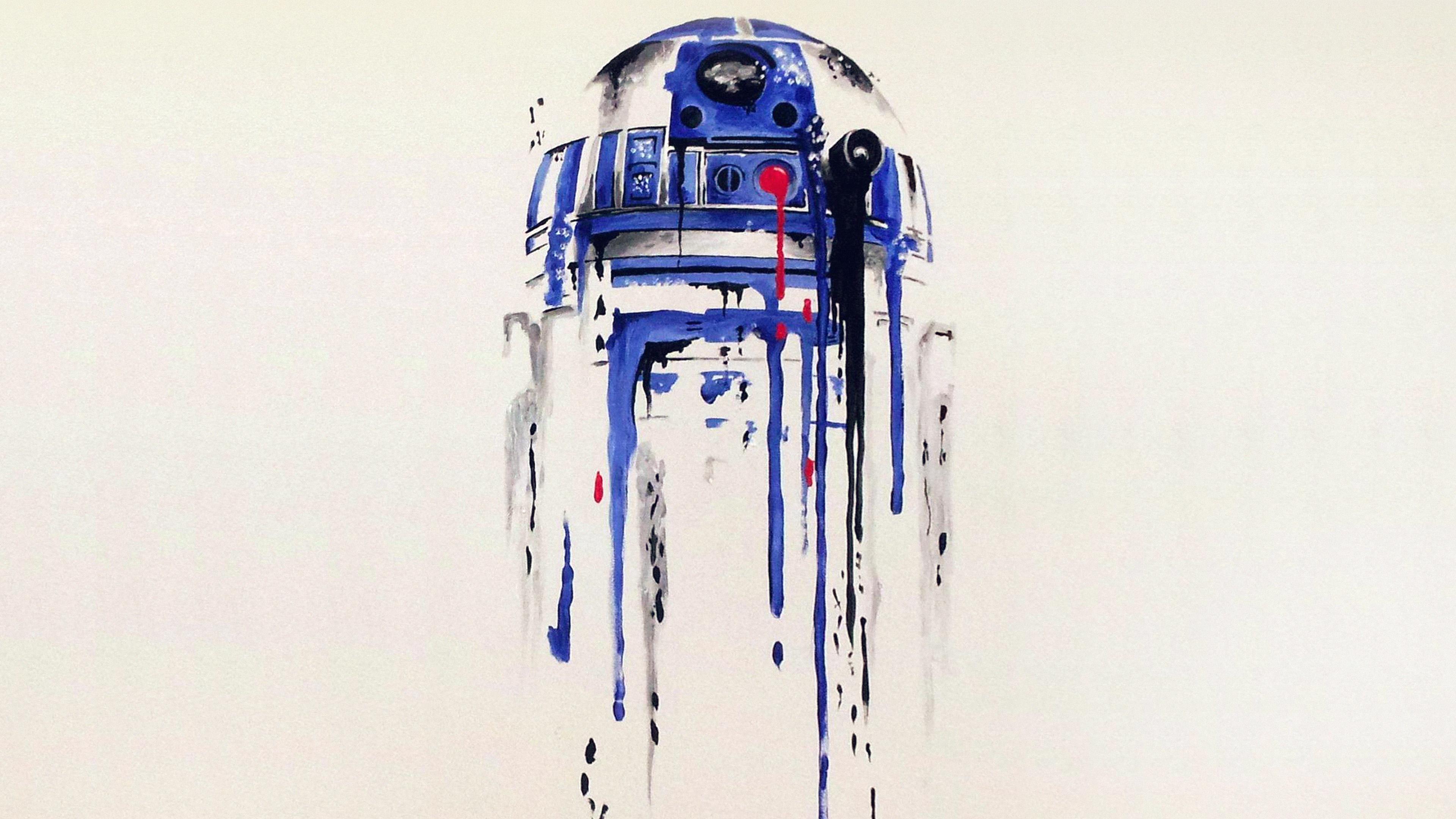 As07 R2 D2 Minimal Painting Starwars Art Illustration Wallpaper