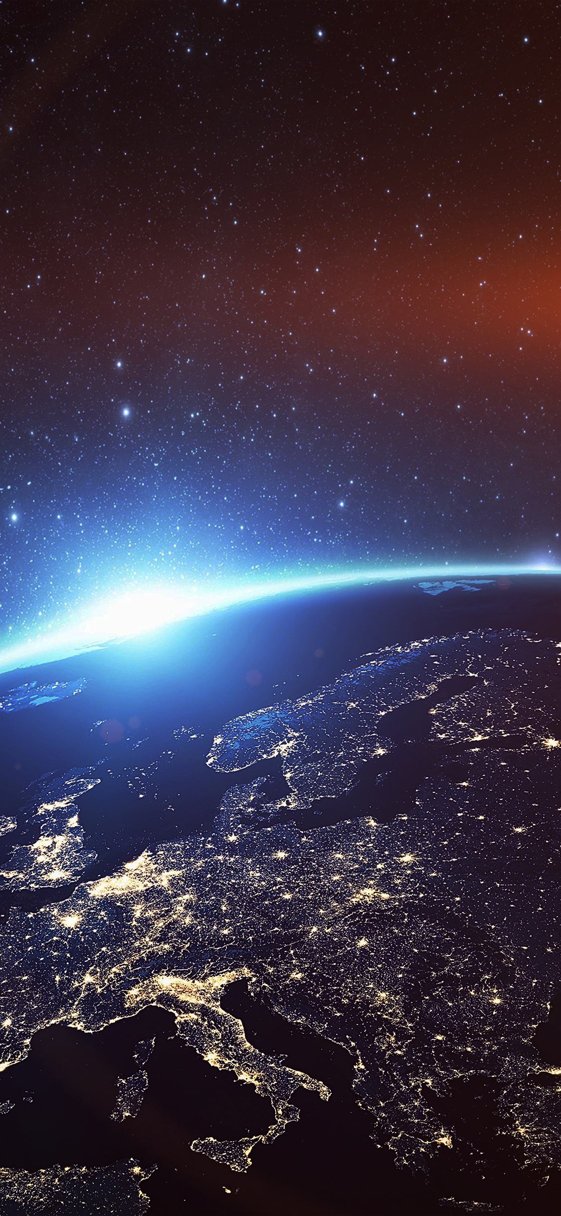 As25 Europe Earth Blue Space Night Art Illustration Flare