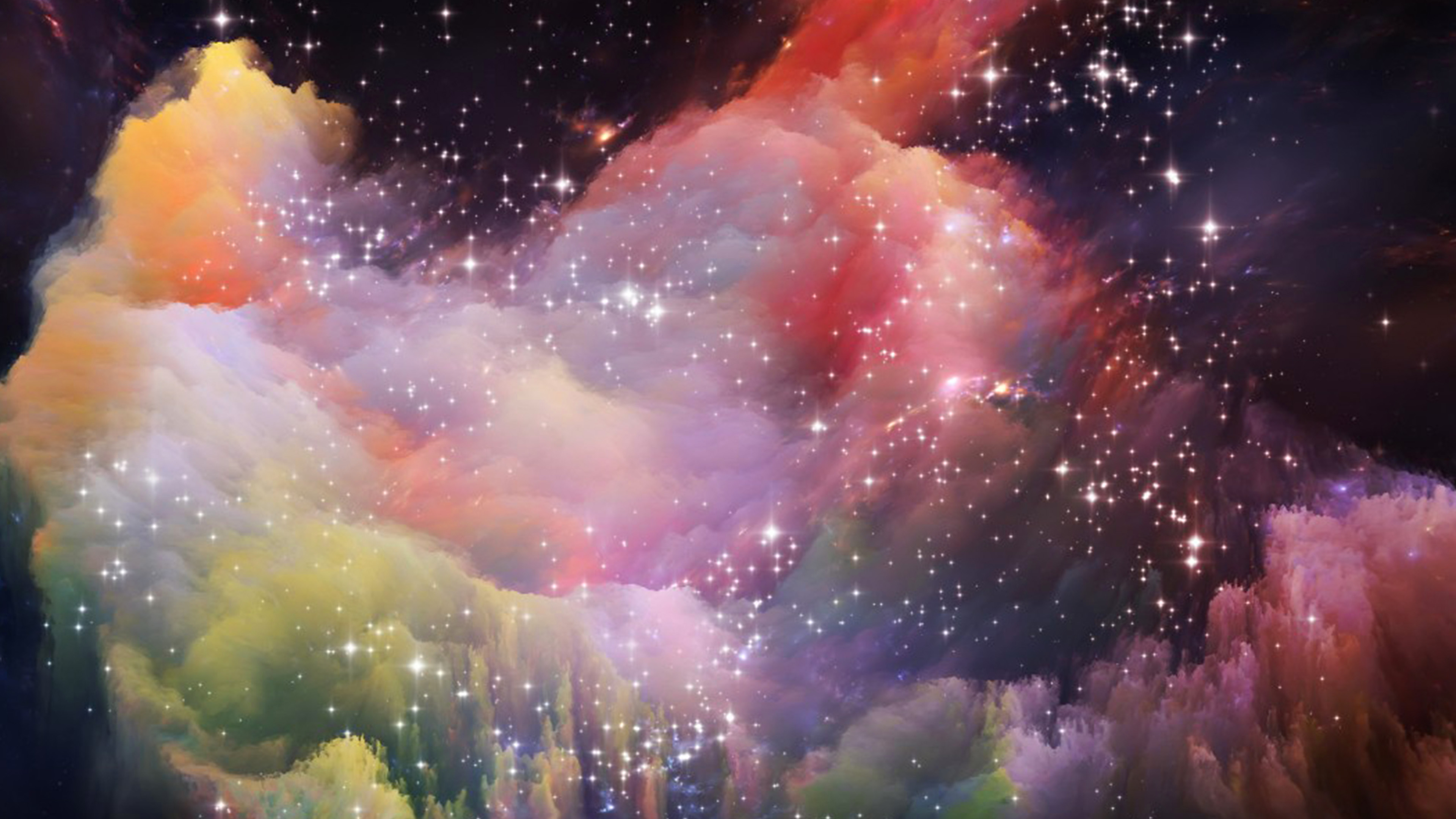 papers.co as35 space rainbow colorful star art illustration 35 3840x2160 4k wallpaper