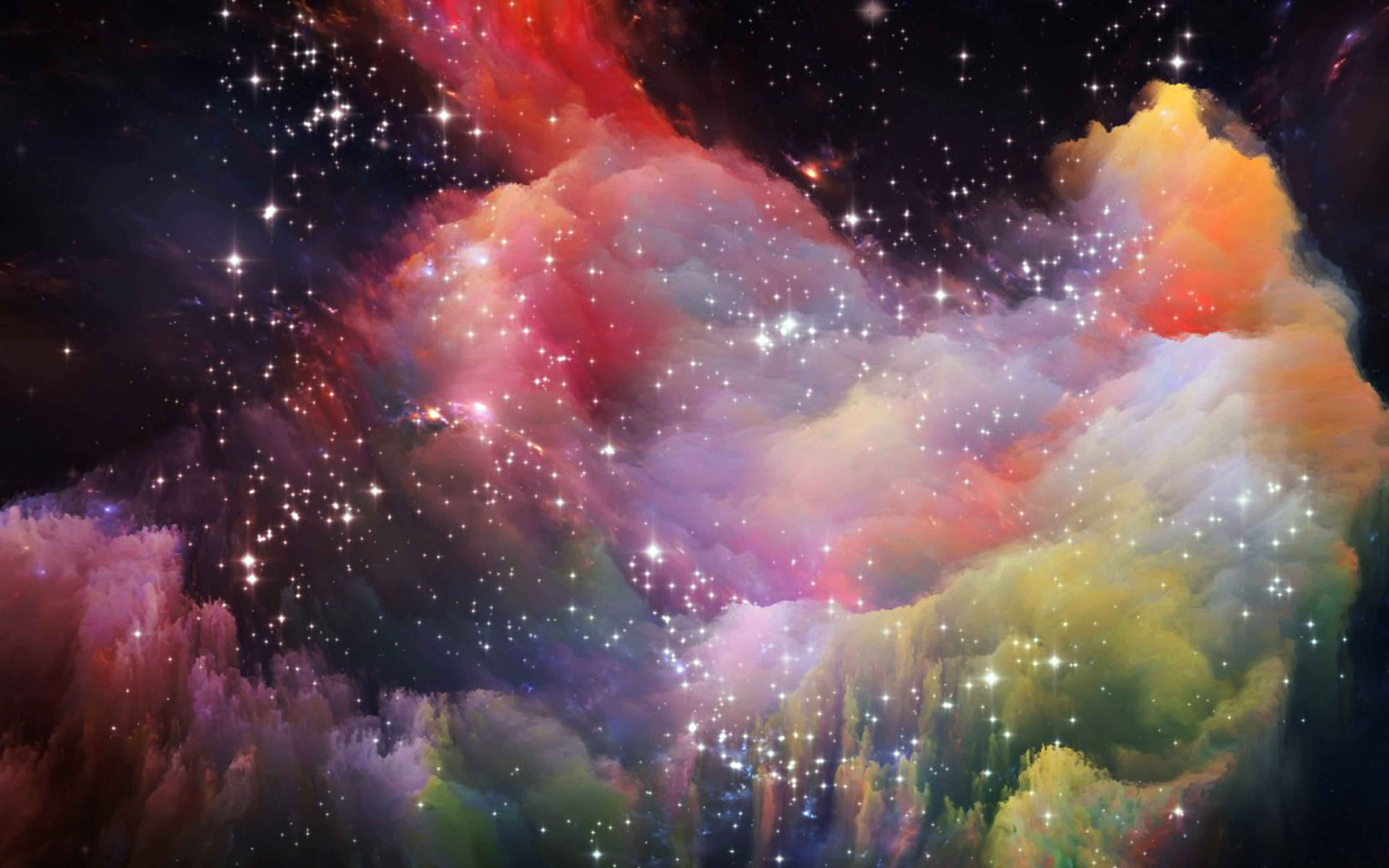 papers.co as36 space rainbow colorful star art illustration red 36 3840x2400 4k wallpaper