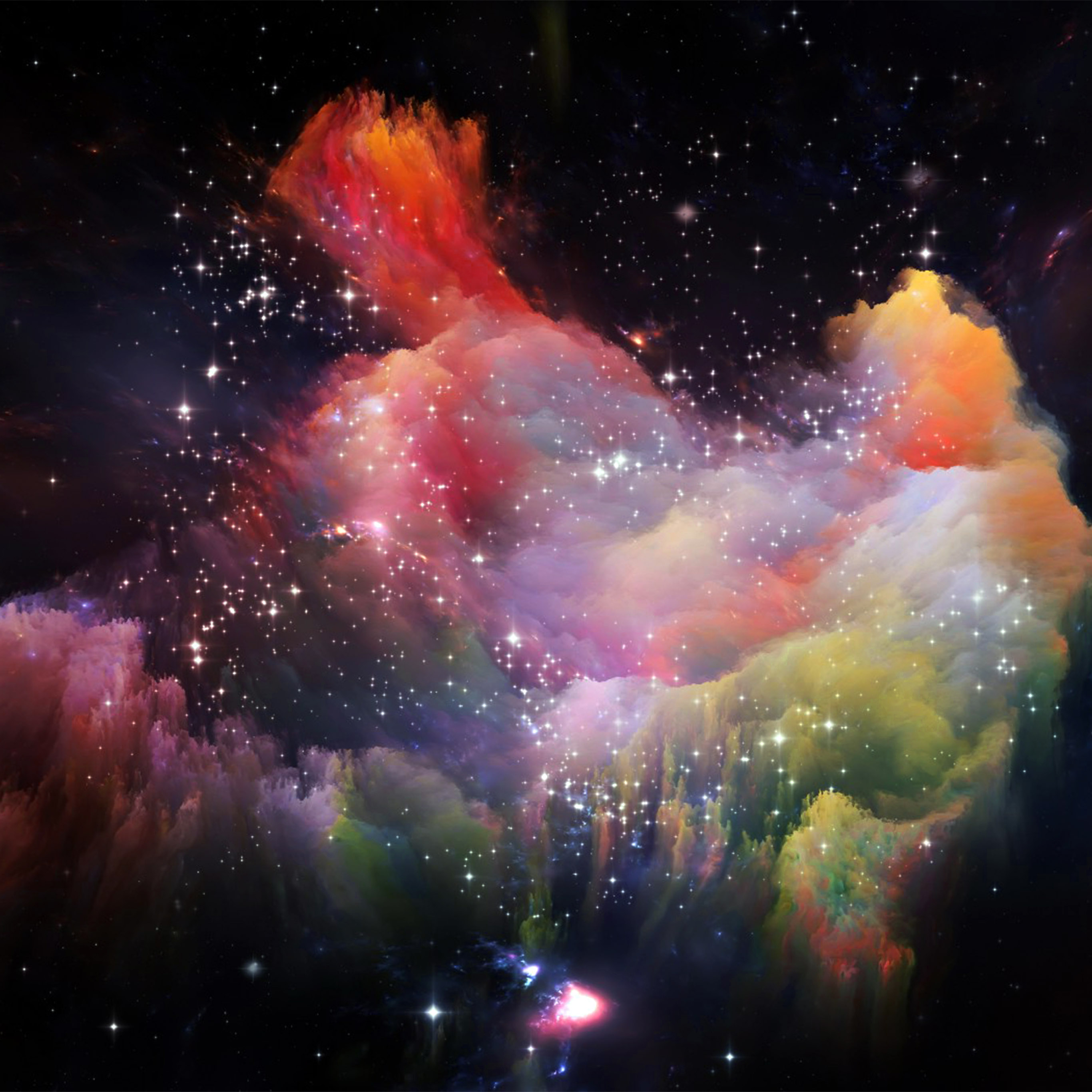 papers.co as36 space rainbow colorful star art illustration red 40 wallpaper
