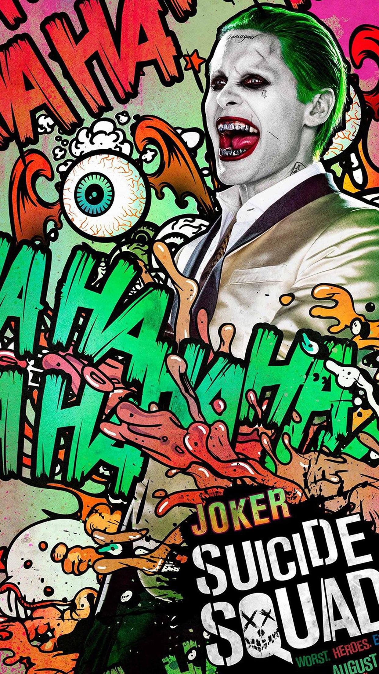 iphone wallpaper as42 suicide squad film poster art illustration joker. Black Bedroom Furniture Sets. Home Design Ideas