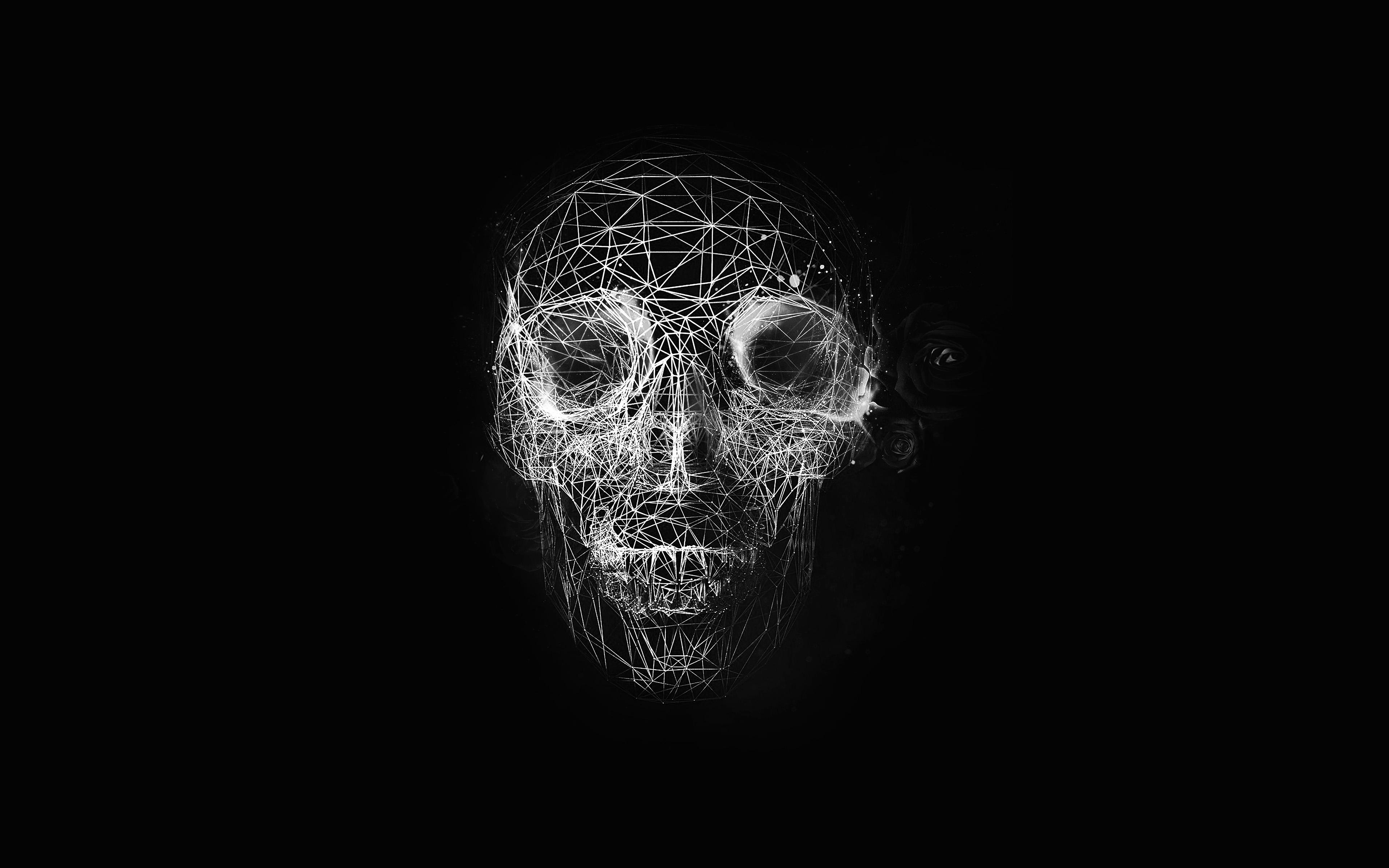 Digital Art Skull Simple Background Abstract Portrait: At04-digital-skull-dark-abstract-art-illustration-bw-wallpaper