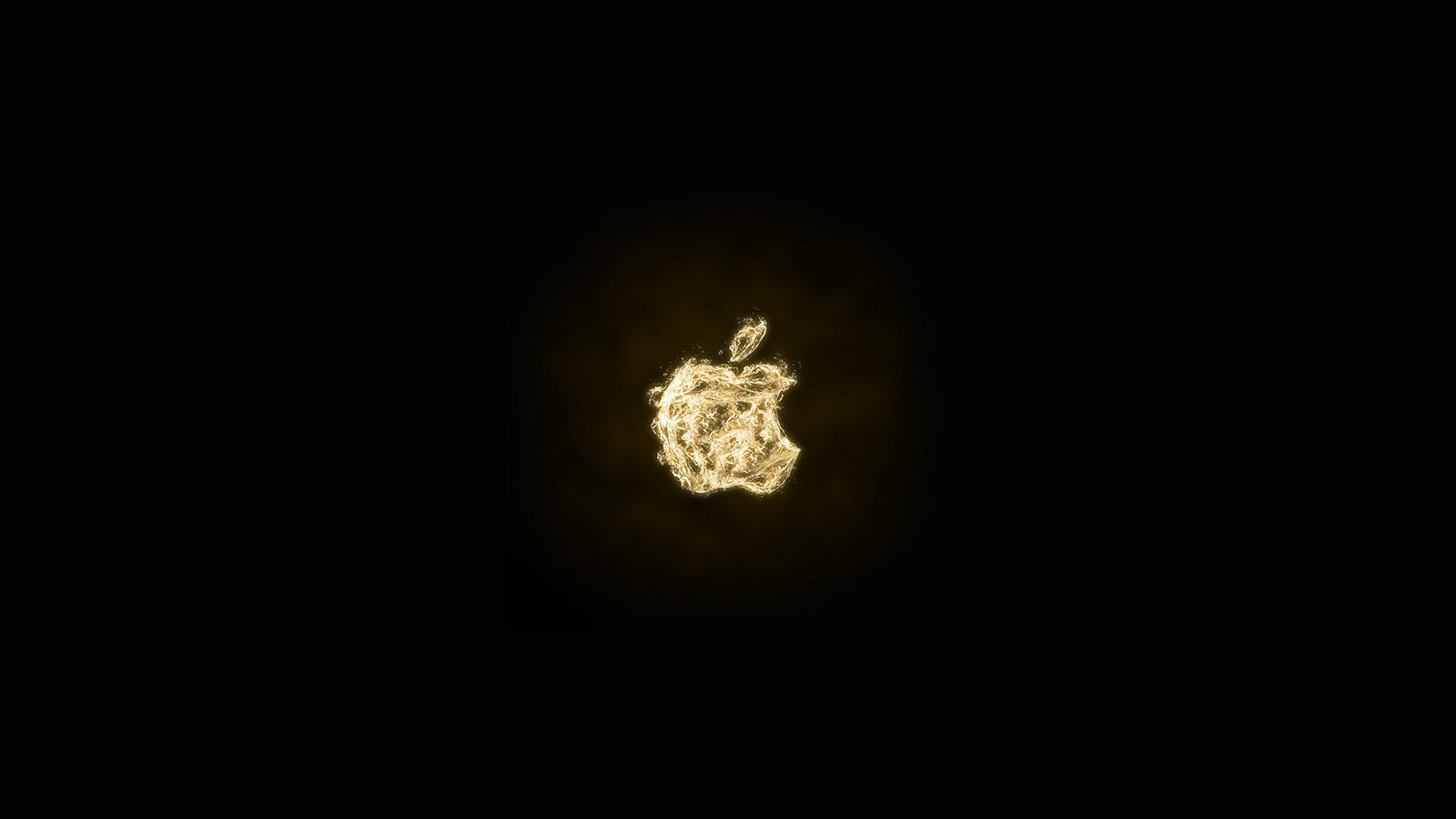 At07 Apple Logo Dark Water Gold Art Illustration Wallpaper