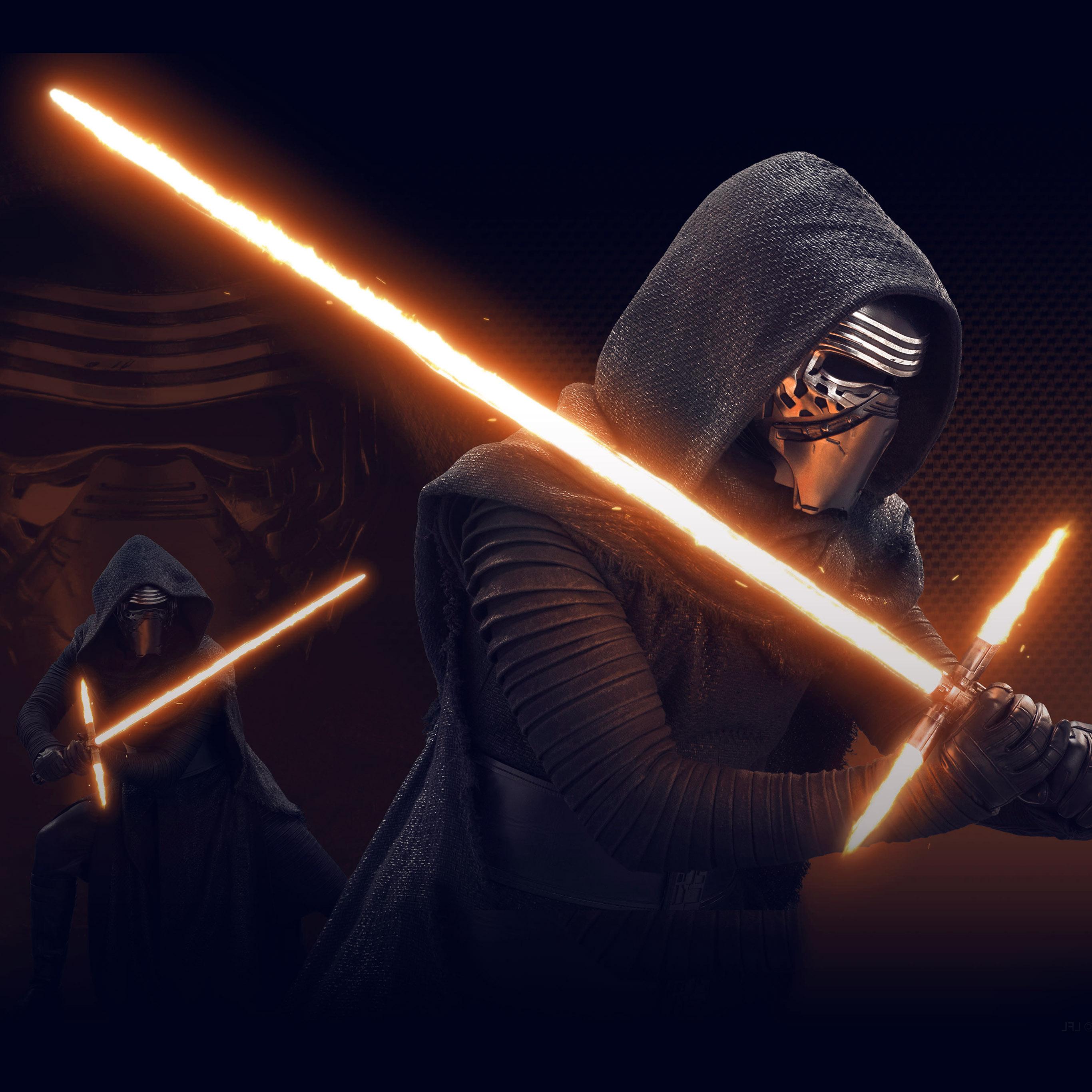 At11 Starwars Kylo Ren Dark Orange Lightsaber Art Illustration Wallpaper