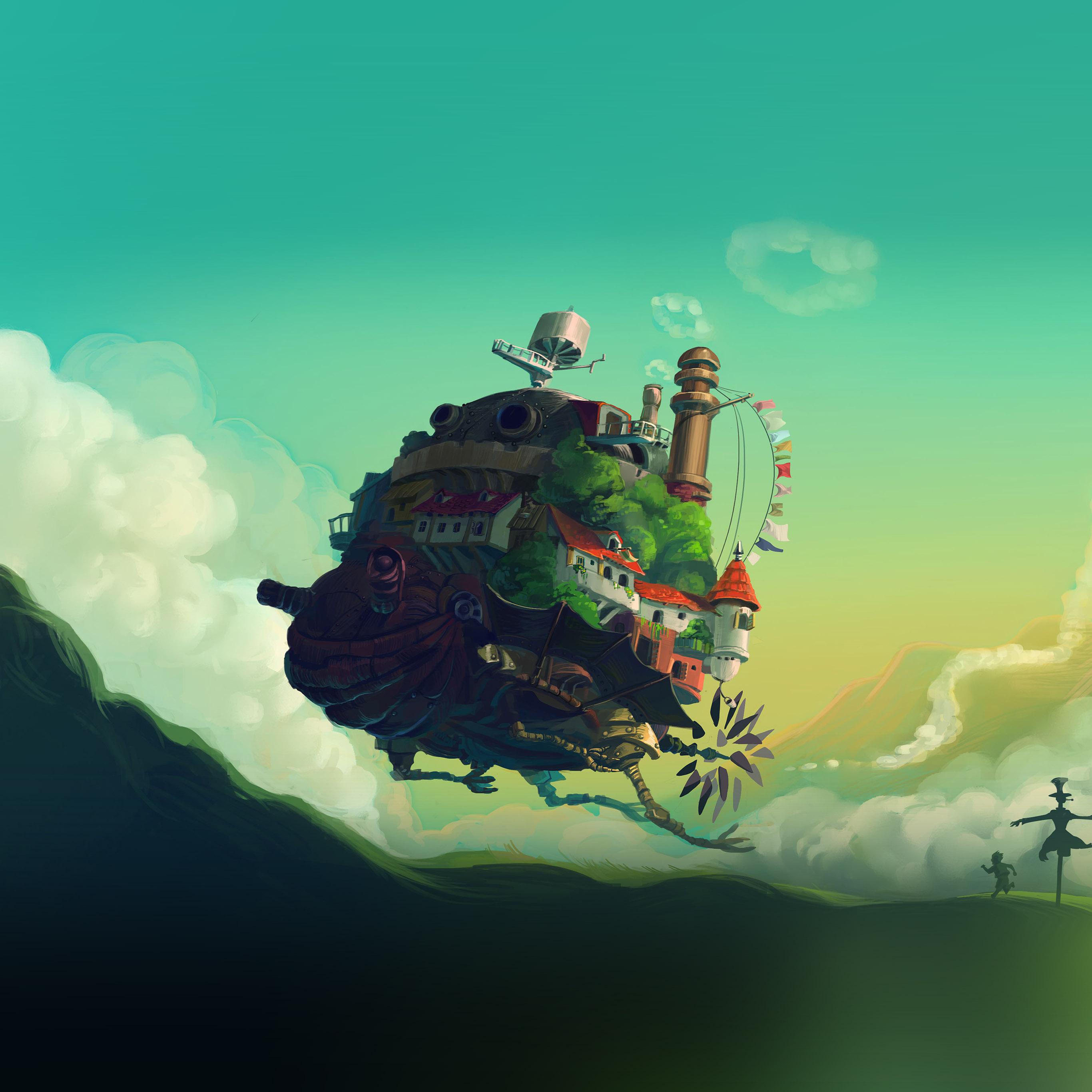 At57 Studio Ghibli Castle Anime Green Peace Art Illustration Wallpaper