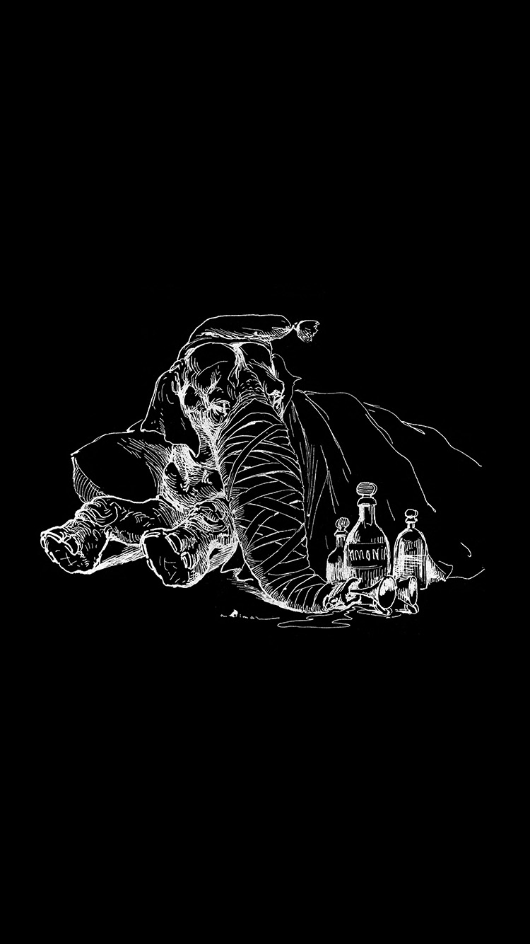 Papers.co-iPhone5-iphone6-plus-wallpaper-at62-elephant-drawing-morning-bw-dark-animal-art-illustration