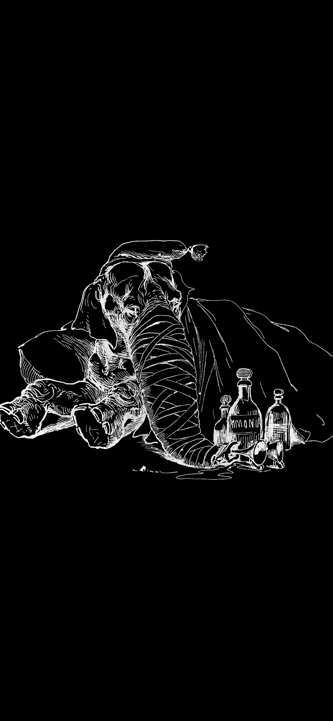 At62 elephant drawing morning bw dark animal art - Black and white hd wallpapers black background ...