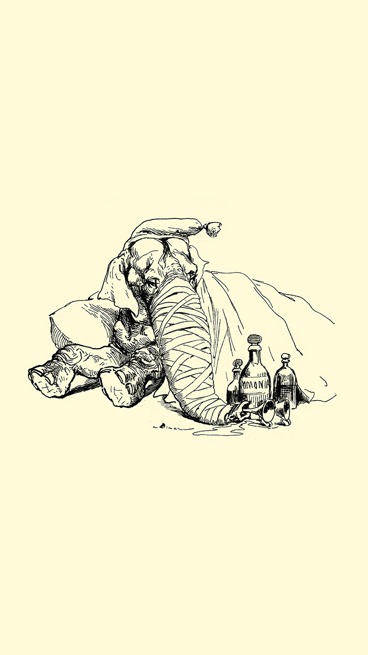 Papers.co-iPhone5-iphone6-plus-wallpaper-at63-elephant-drawing-morning-sepia-animal-art-illustration