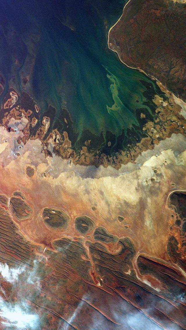 At65 Earthview Satellite Map Sea Red Land Art Illustration