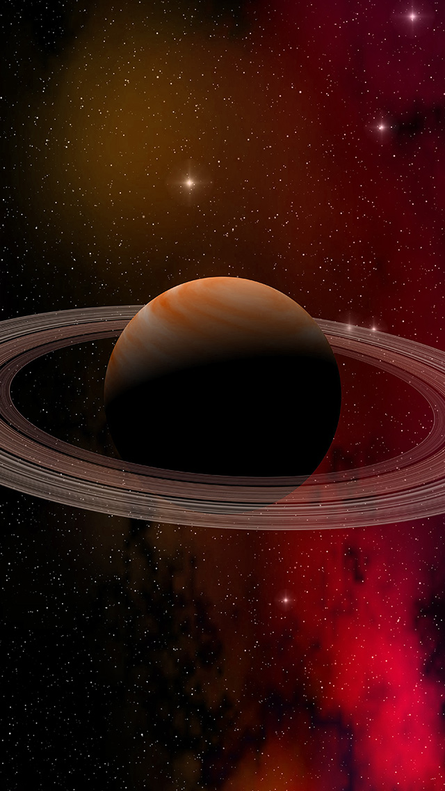 freeios8.com-iphone-4-5-6-plus-ipad-ios8-at79-space-planet-saturn-star-art-illustration-red