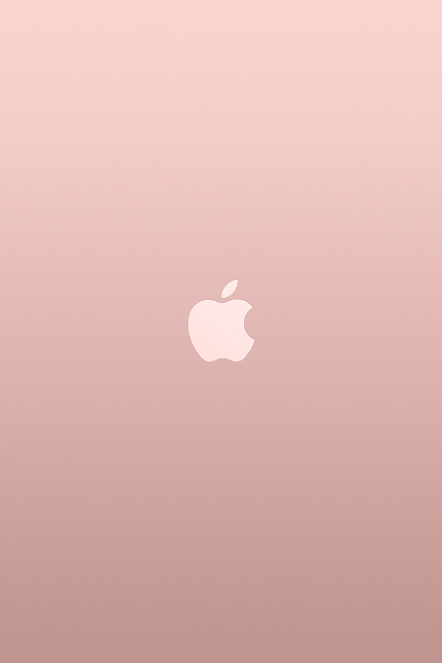 Au15 Logo Apple Pink Rose Gold White Minimal Illustration Art