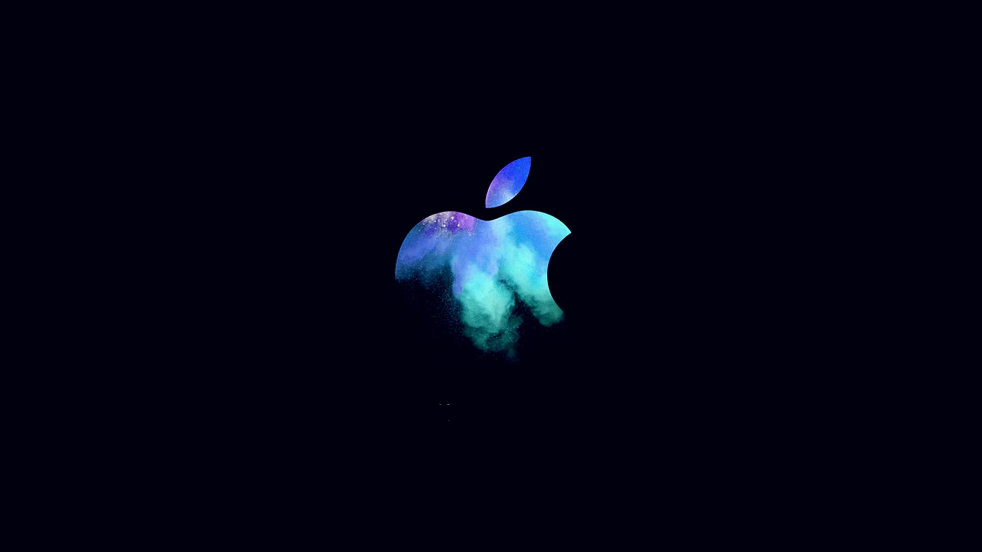 Ipad Retina Wallpaper For Iphone X 8 7 6: Au33-apple-mac-event-logo-dark-illustration-art-blue-wallpaper