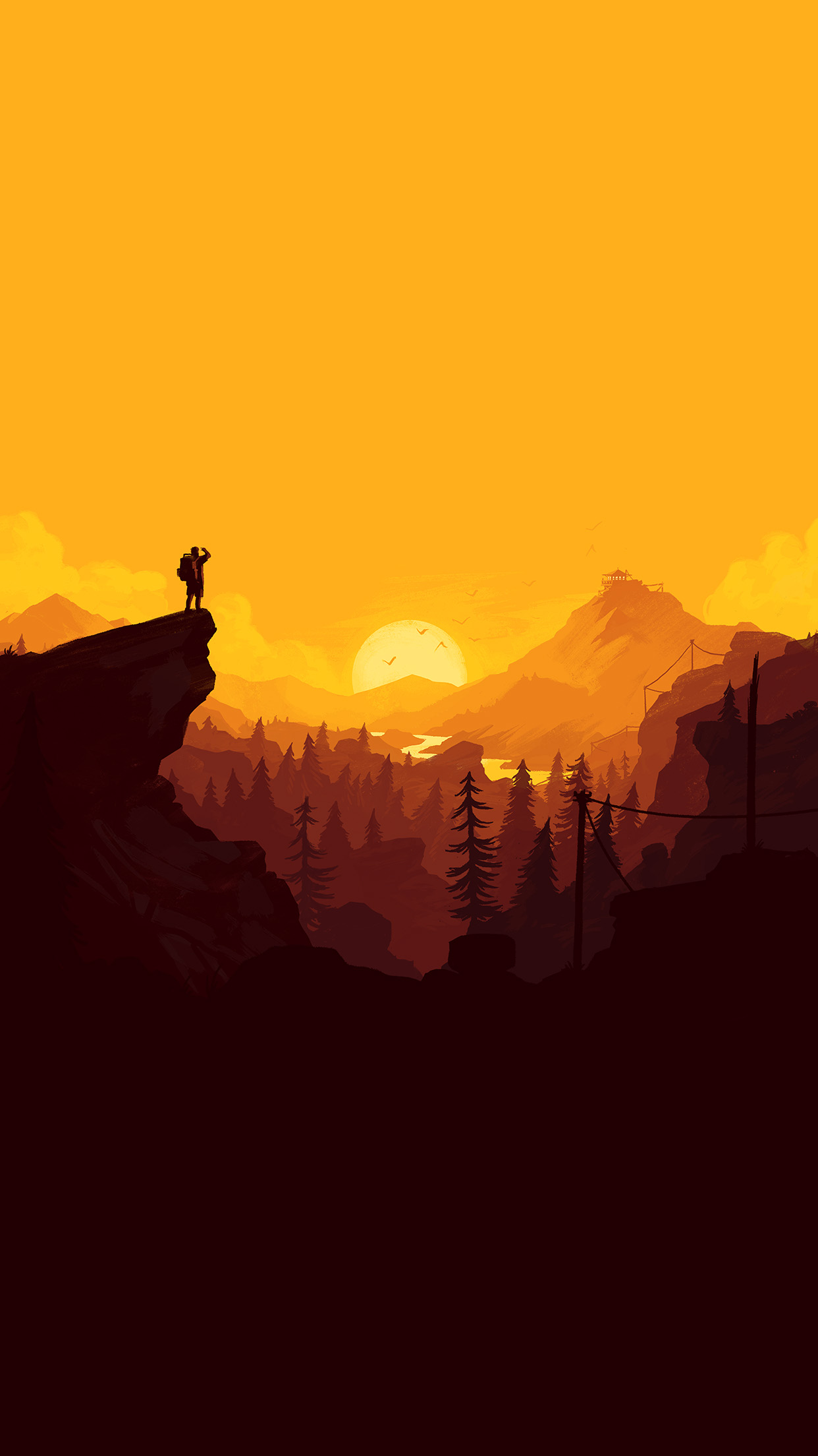 Au34 nature sunset simple minimal illustration art wallpaper