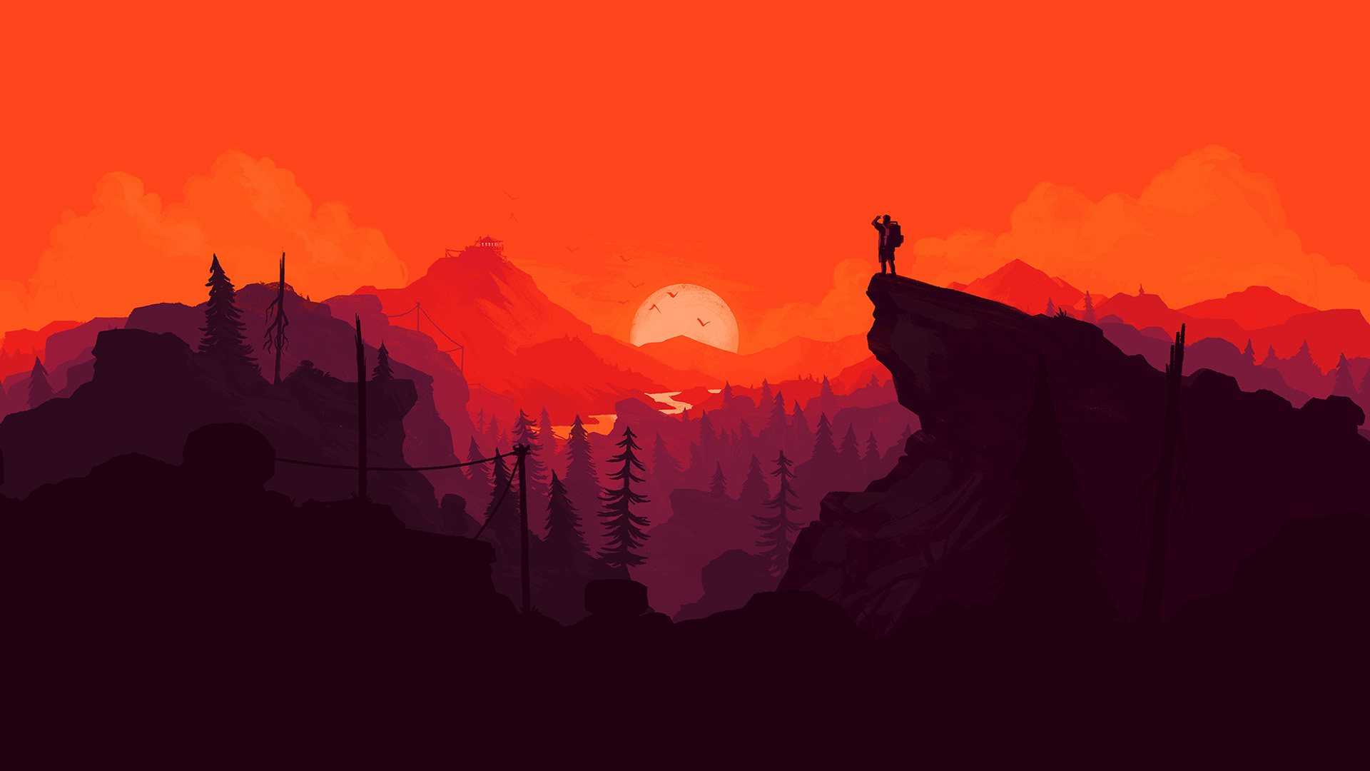 2932x2932 Pubg Android Game 4k Ipad Pro Retina Display Hd: Au35-nature-sunset-simple-minimal-illustration-art-red