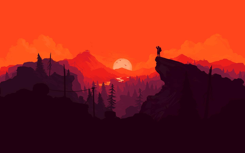 au35-nature-sunset-simple-minimal-illustration-art-red ...