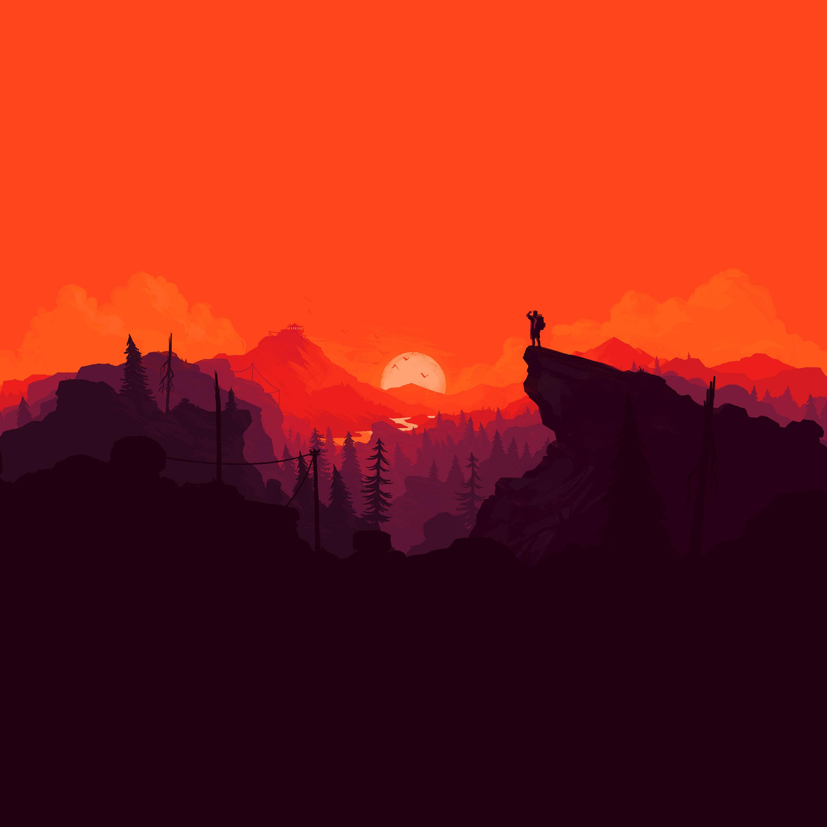 Au35 Nature Sunset Simple Minimal Illustration Art Red Wallpaper